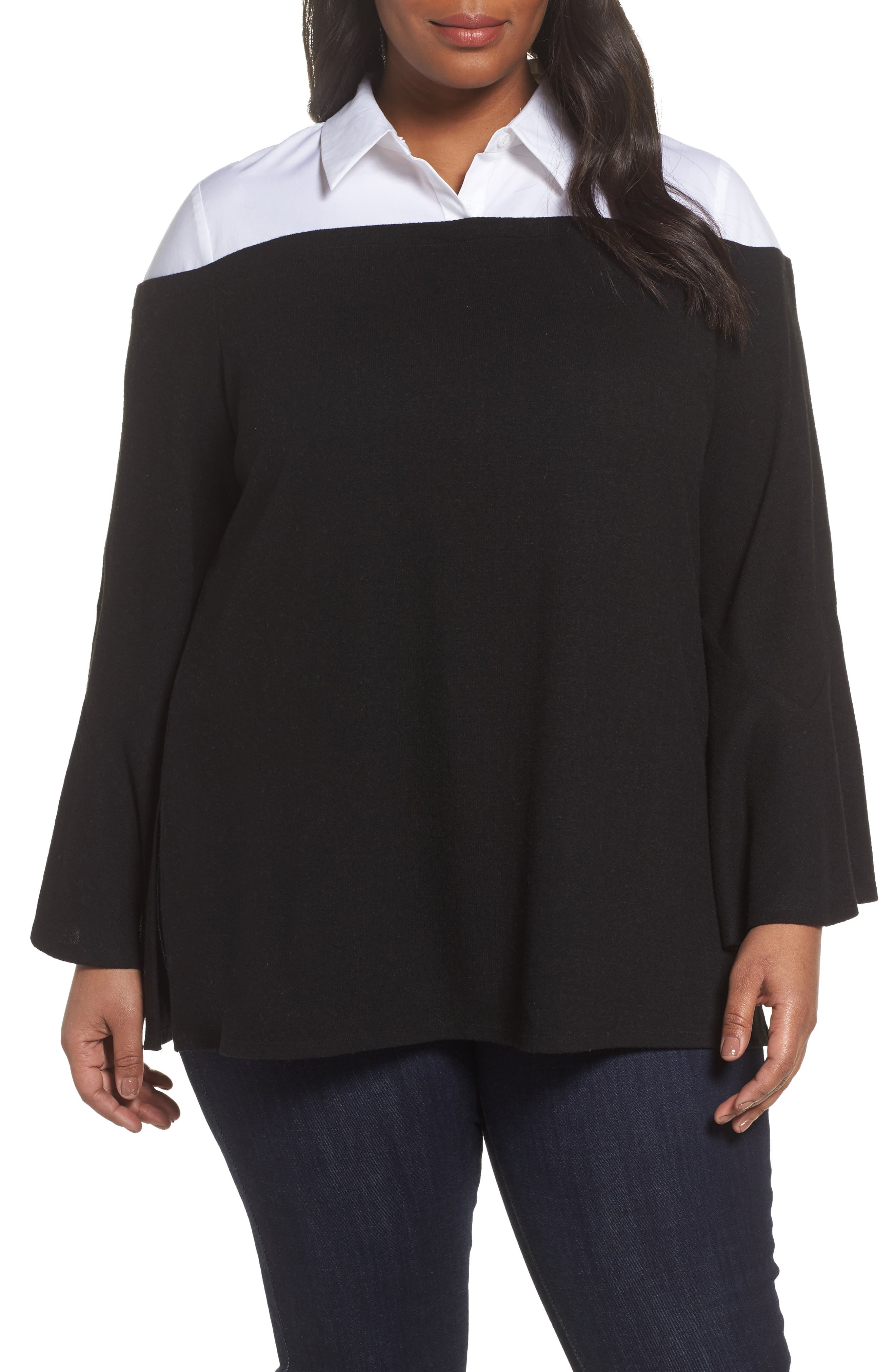 Bell Sleeve Mixed Media Top,                         Main,                         color, 006