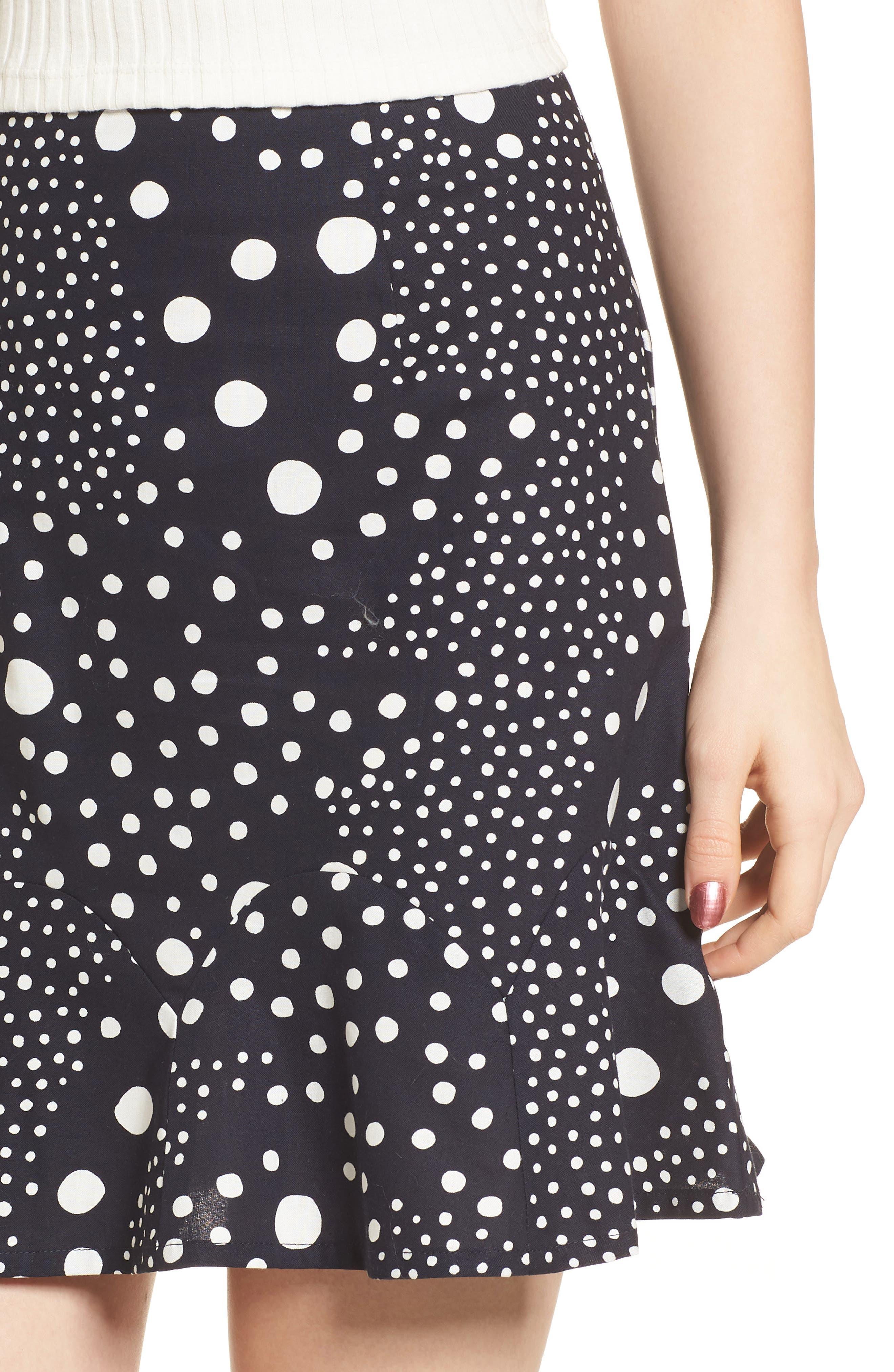 Lagoon Polka Dot Miniskirt,                             Alternate thumbnail 4, color,