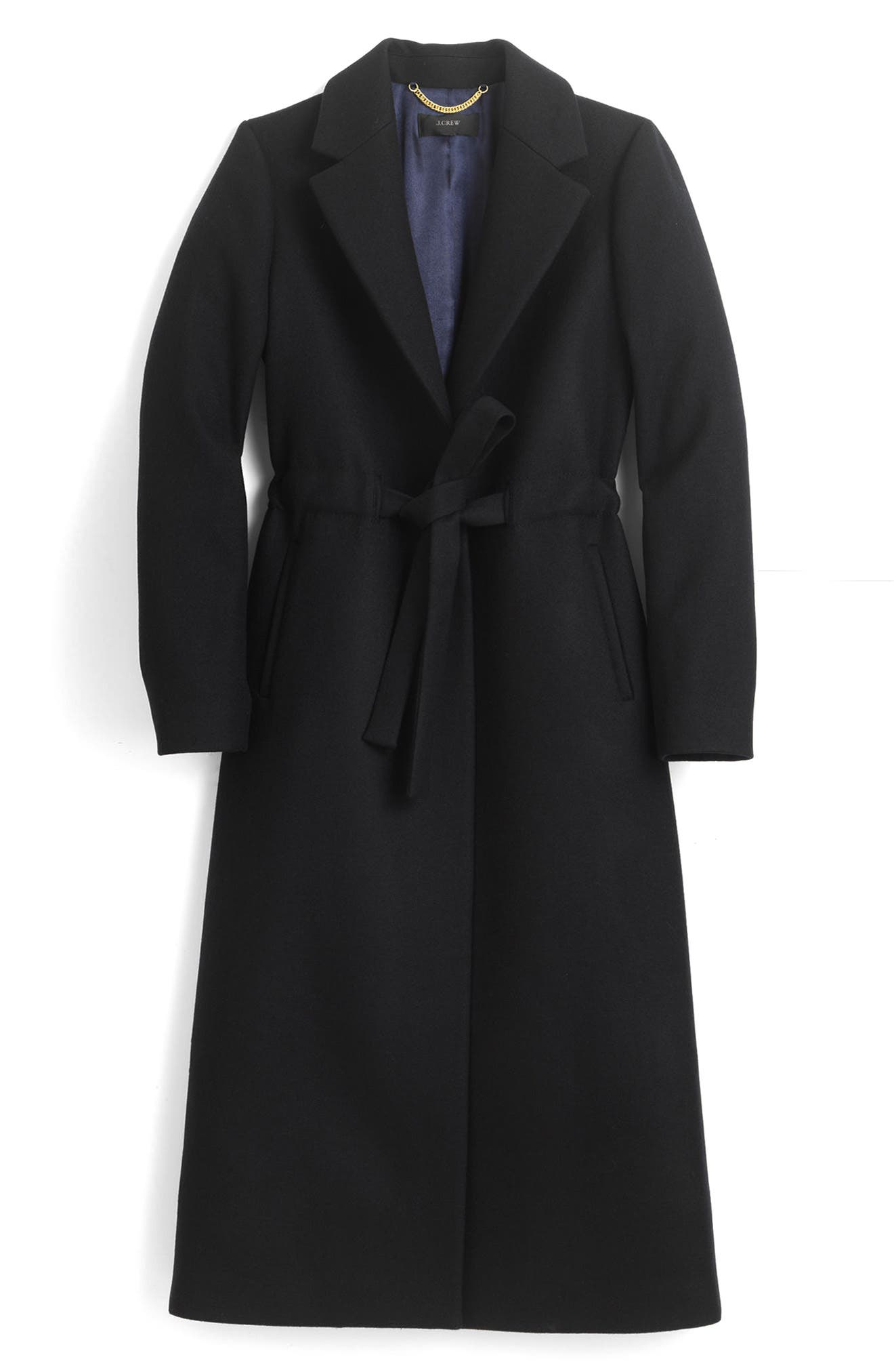 Tie-Waist Double Serge Wool Topcoat,                             Main thumbnail 1, color,                             001