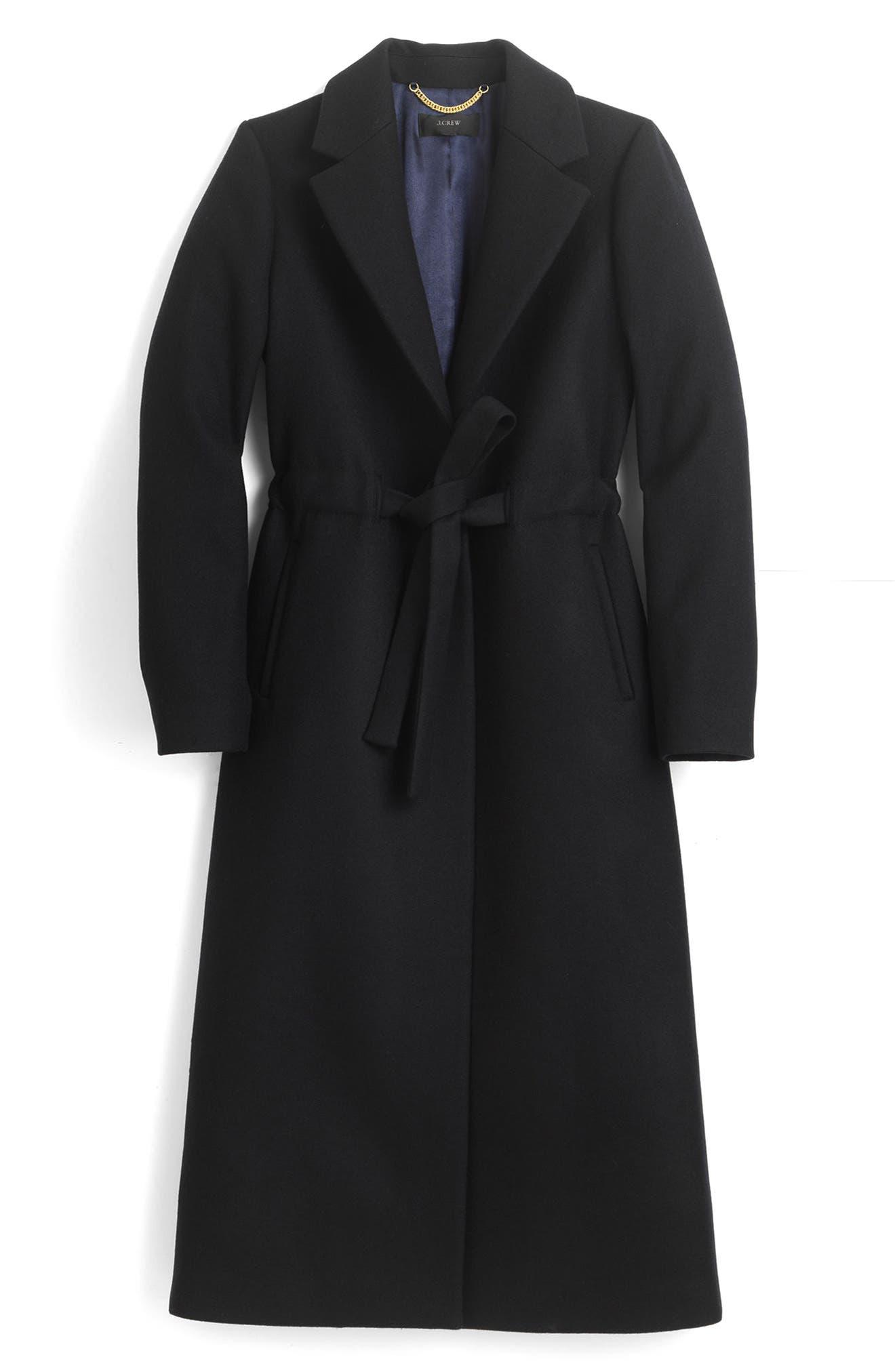Tie-Waist Double Serge Wool Topcoat,                         Main,                         color, 001