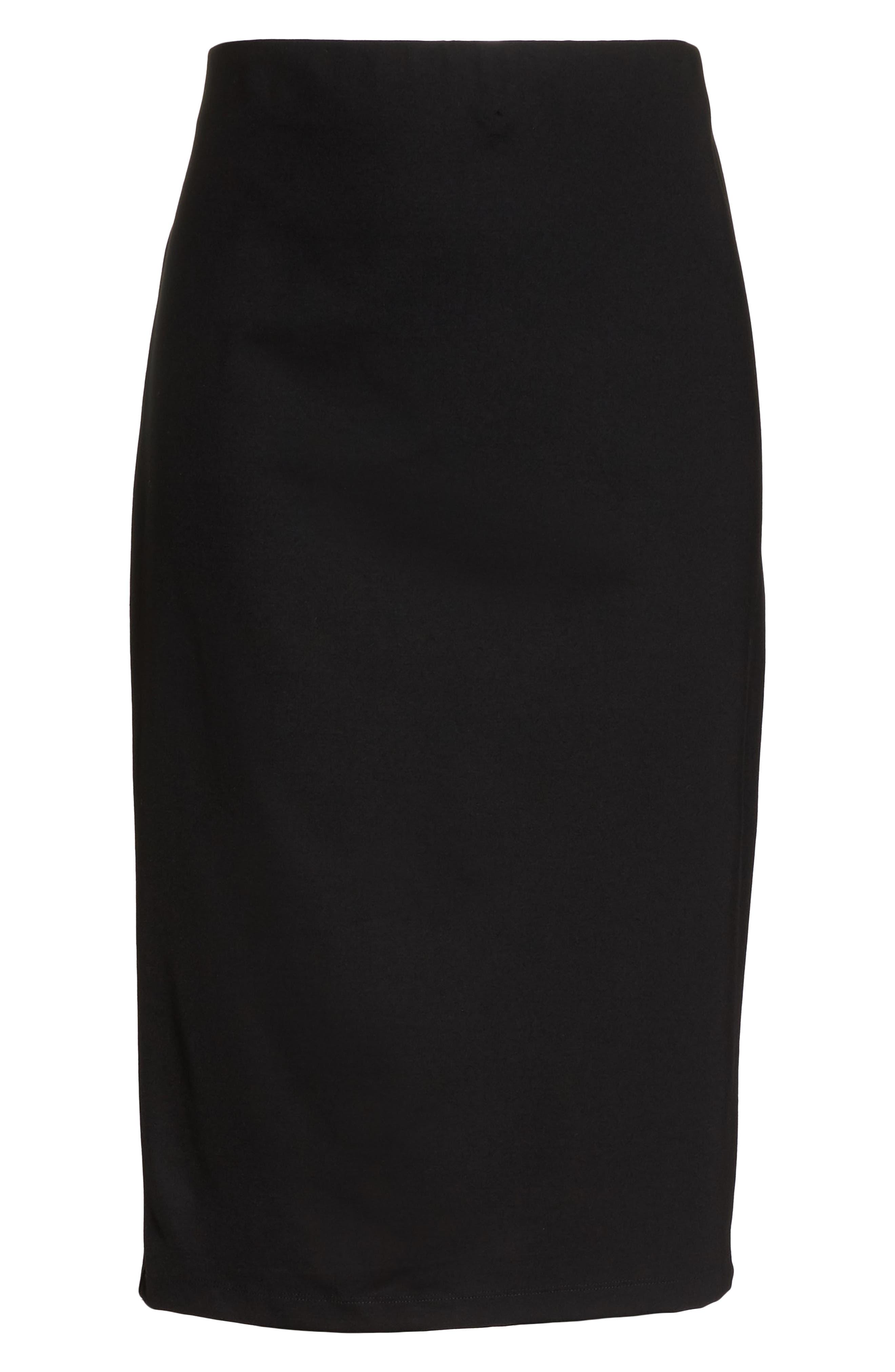 Ponte Pencil Skirt,                             Alternate thumbnail 6, color,                             BLACK