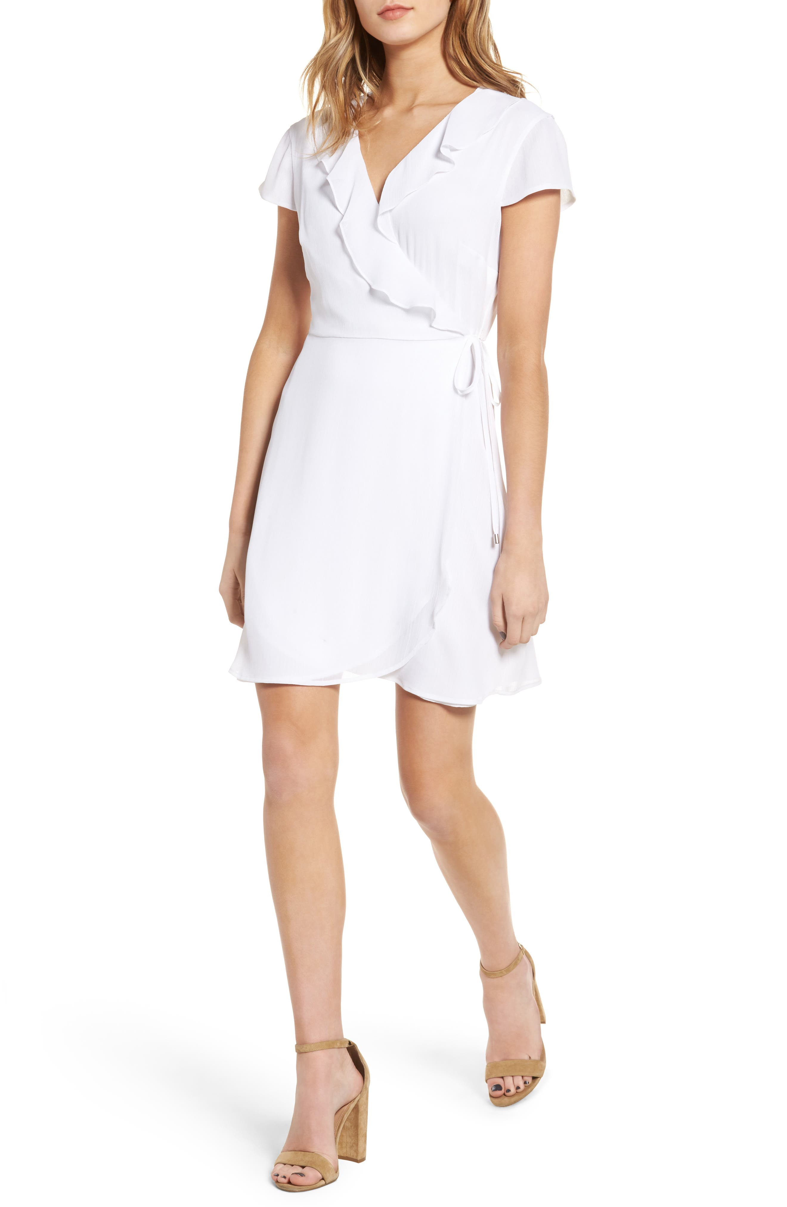 Ruffle Wrap Dress,                         Main,                         color, 100
