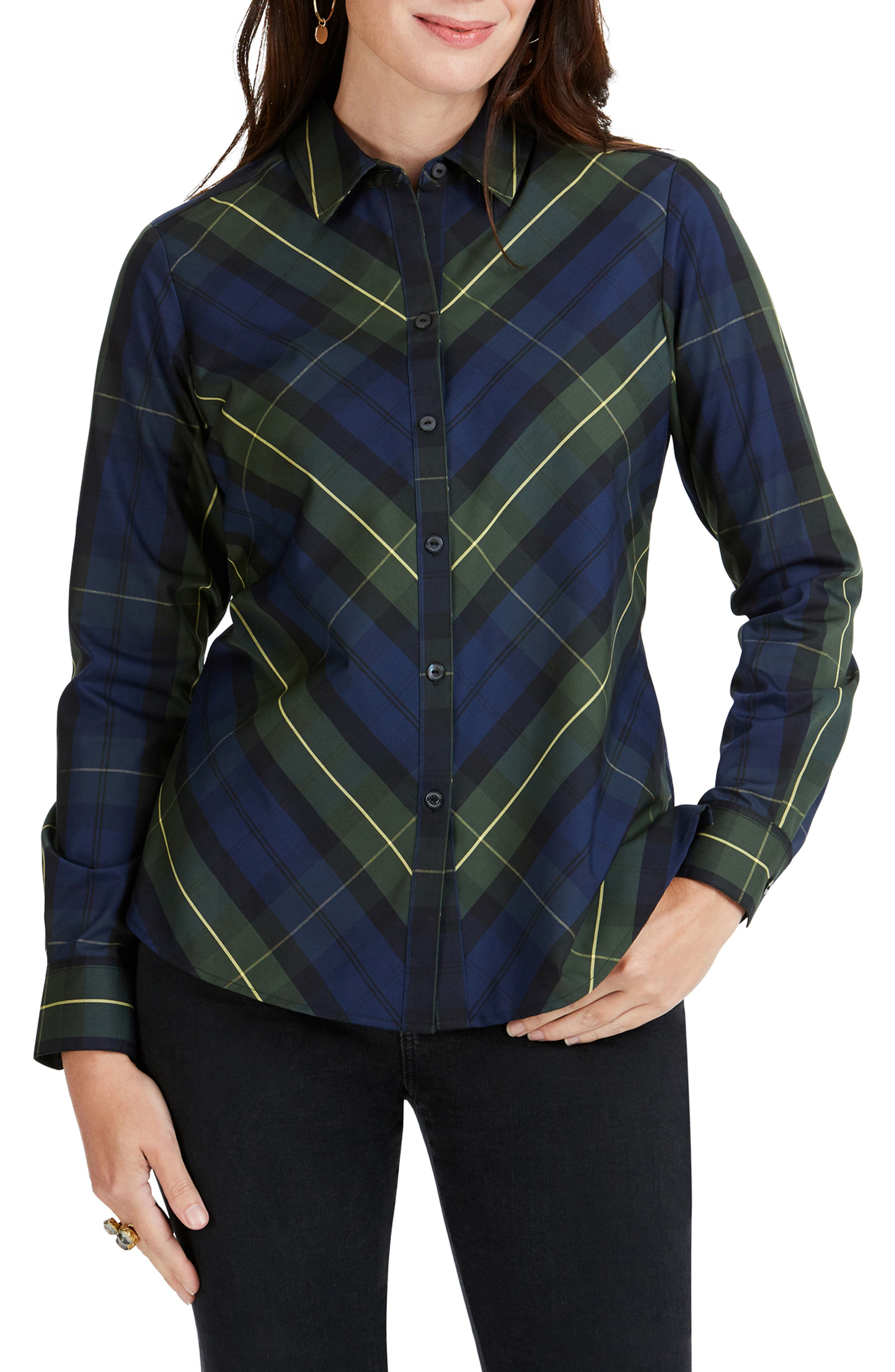 Foxcroft Tina Lenox Tartan Shirt, Blue