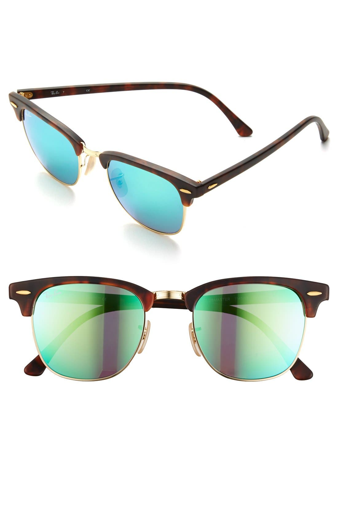 Ray-Ban Flash Clubmaster 51Mm Sunglasses - Tortoise/ Green Flash