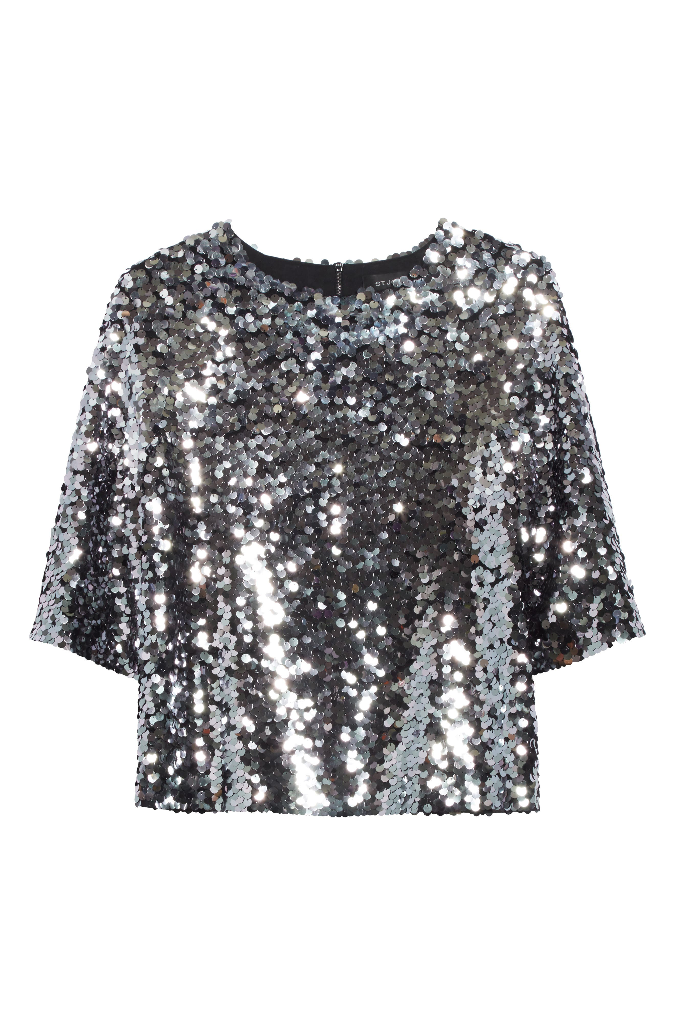 Sequin Tulle Top,                             Alternate thumbnail 6, color,