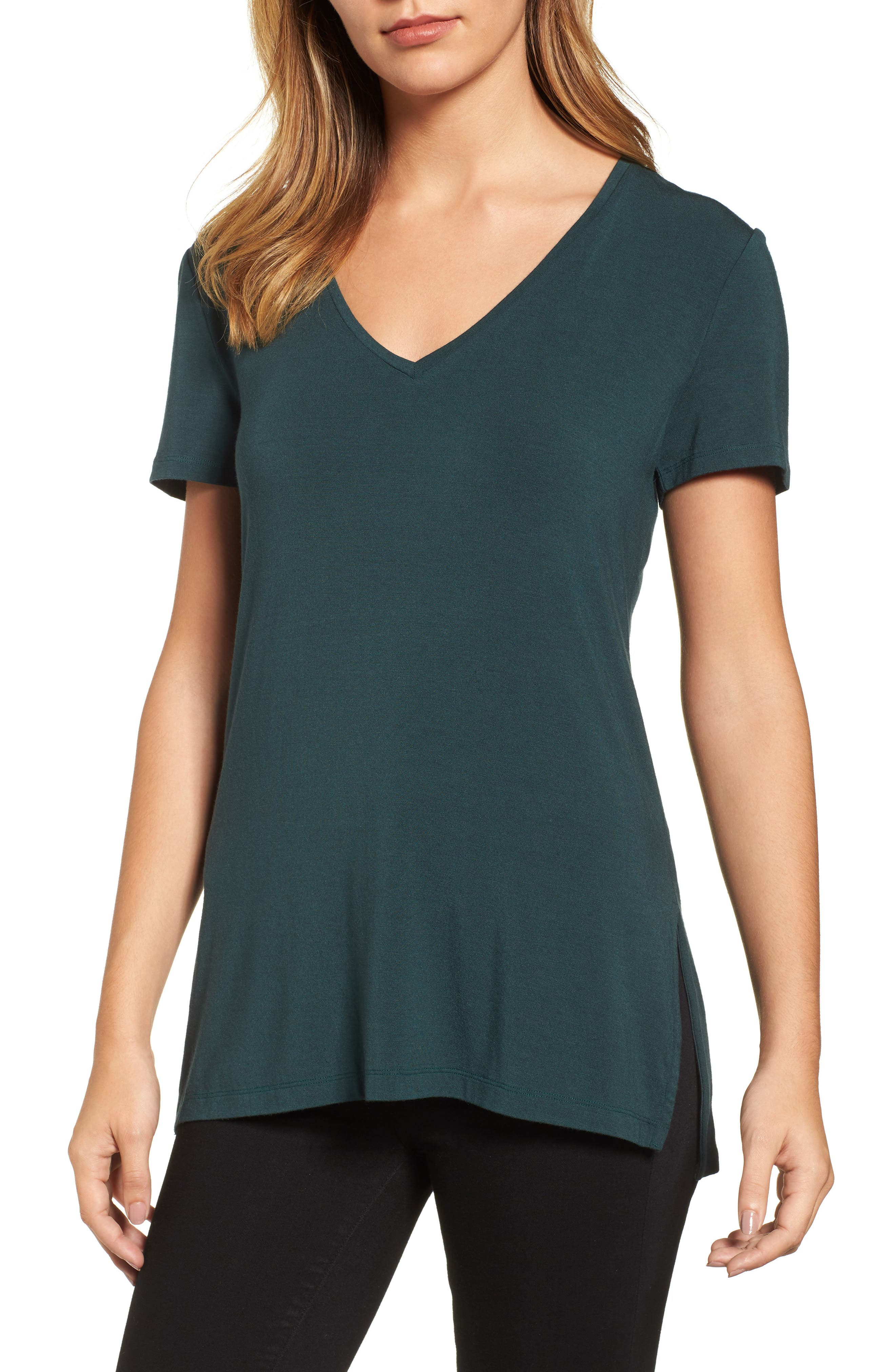 V-Neck Tunic Tee,                             Main thumbnail 3, color,