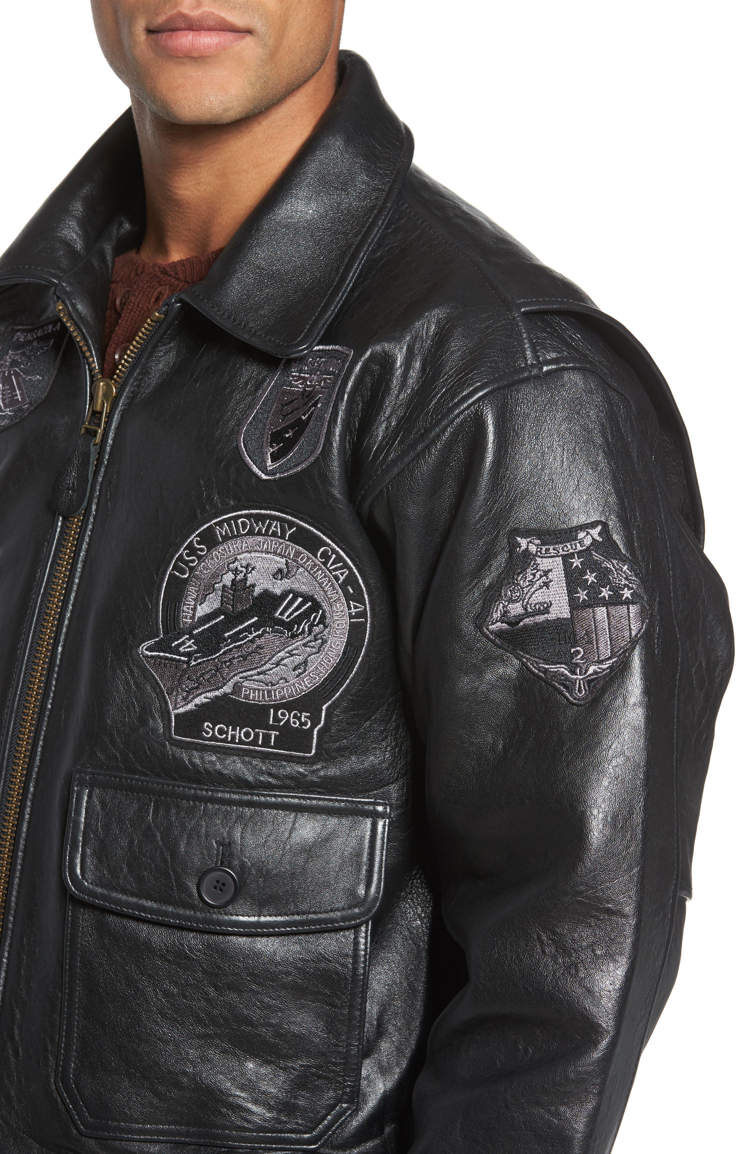 SCHOTT NYC,                             Genuine Shearling Collar G-1 Flight Jacket,                             Alternate thumbnail 4, color,                             BLACK