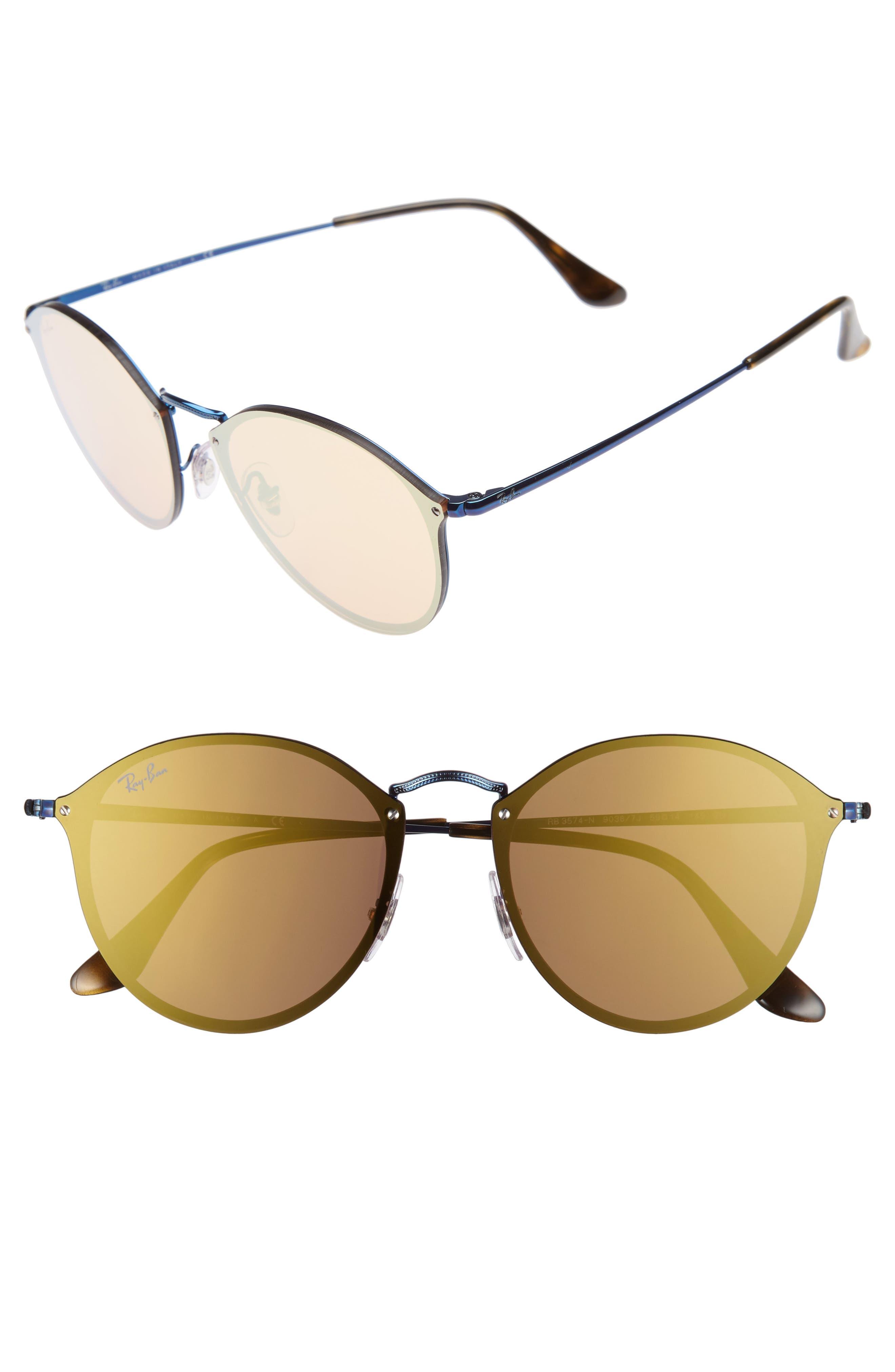 59mm Blaze Round Mirrored Sunglasses,                             Main thumbnail 3, color,