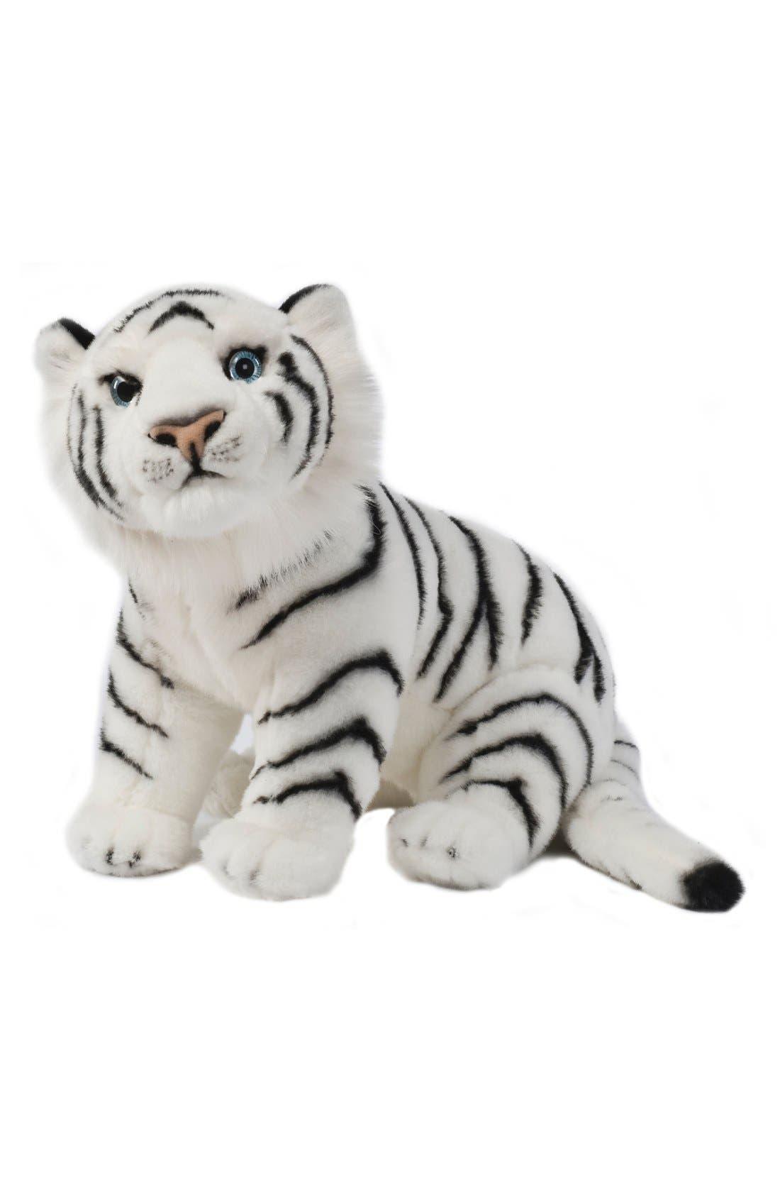 'Sitting White Tiger' Stuffed Animal,                         Main,                         color, WHITE