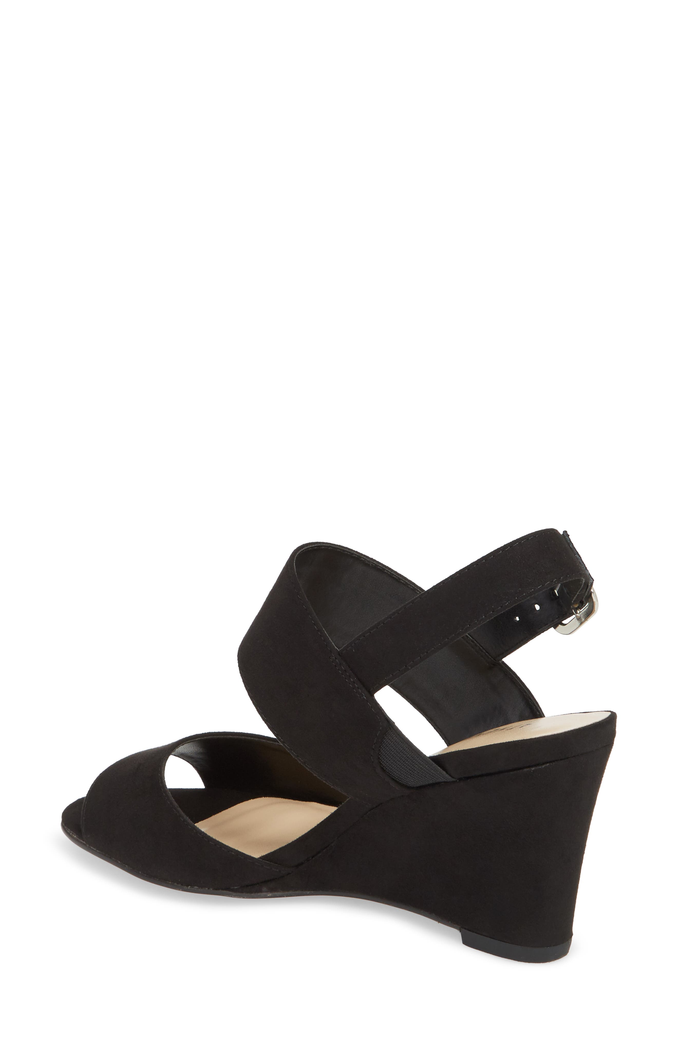 Slayte Wedge Sandal,                             Alternate thumbnail 2, color,                             BLACK FAUX SUEDE