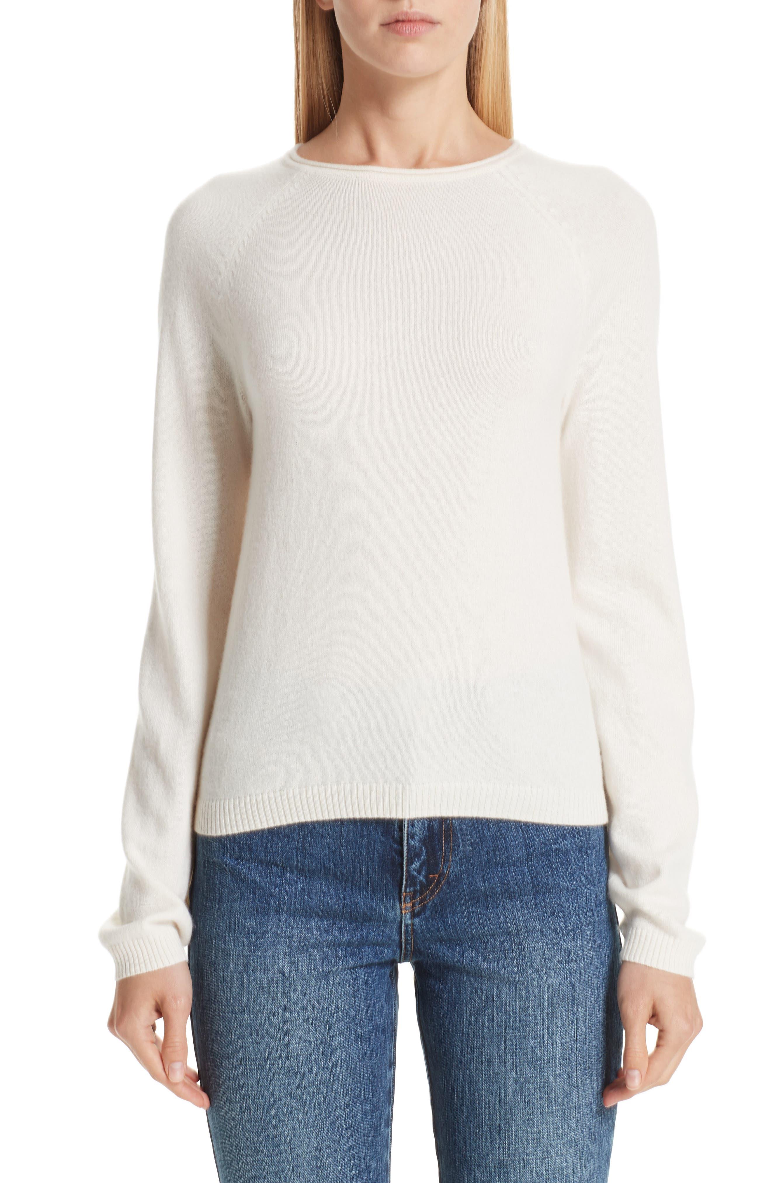 Co Silk Blend Raglan Sweater, Ivory