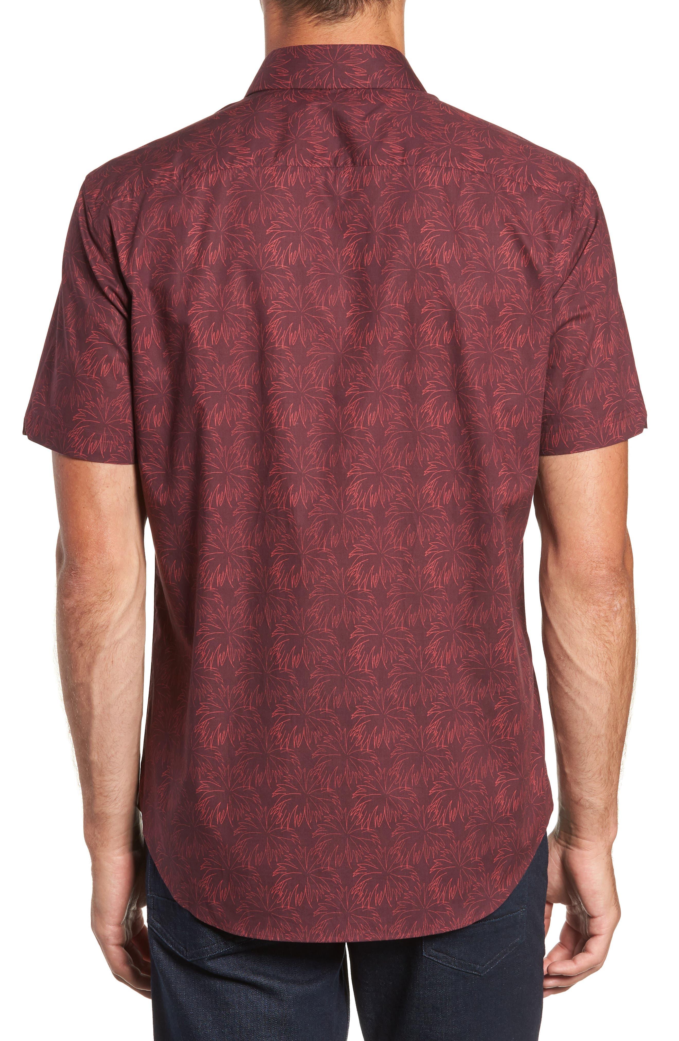 Rinaldi Regular Fit Pattern Sport Shirt,                             Alternate thumbnail 3, color,                             MAROON