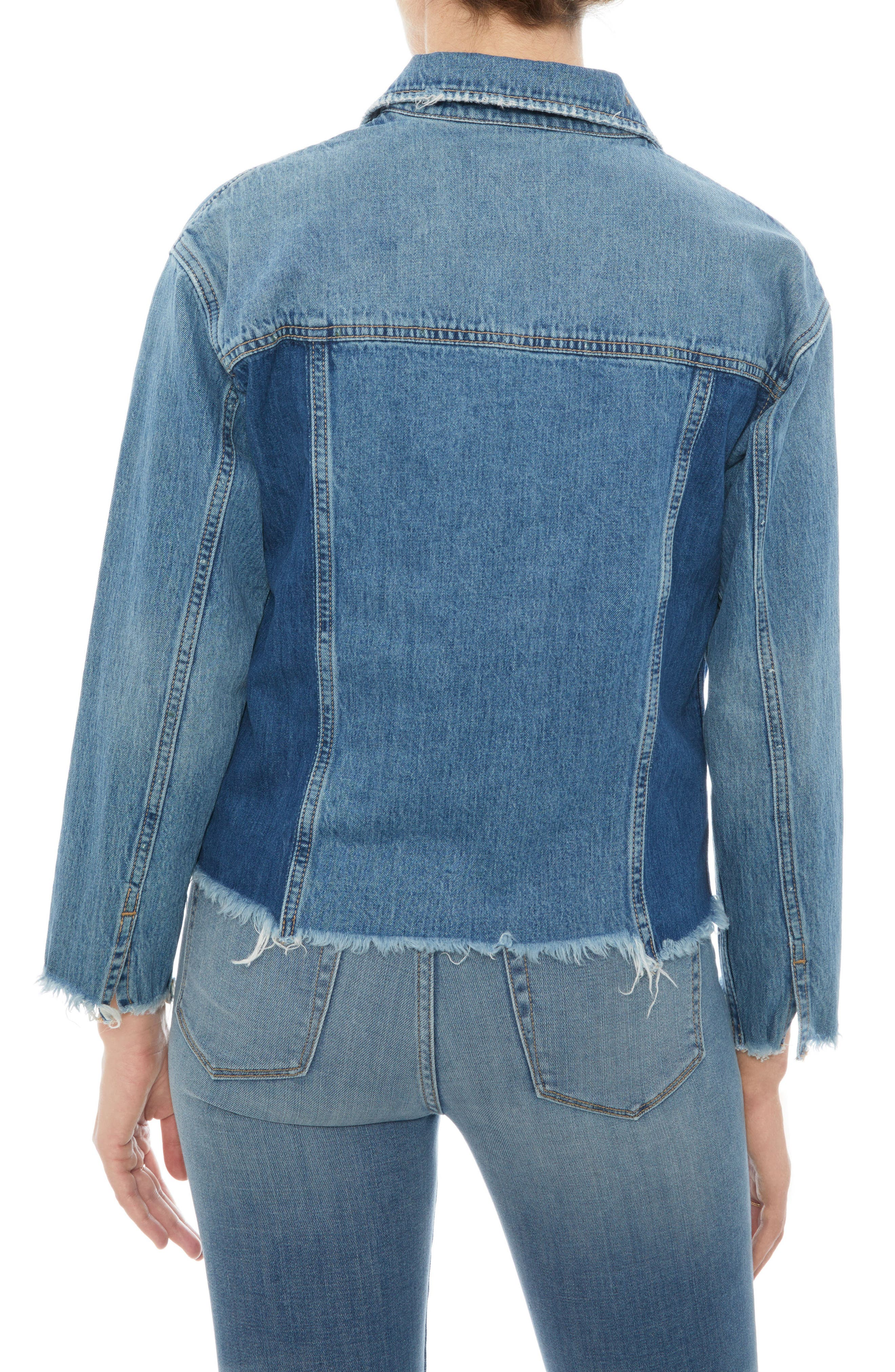 The Karlie Raw Edge Denim Jacket,                             Alternate thumbnail 2, color,                             410