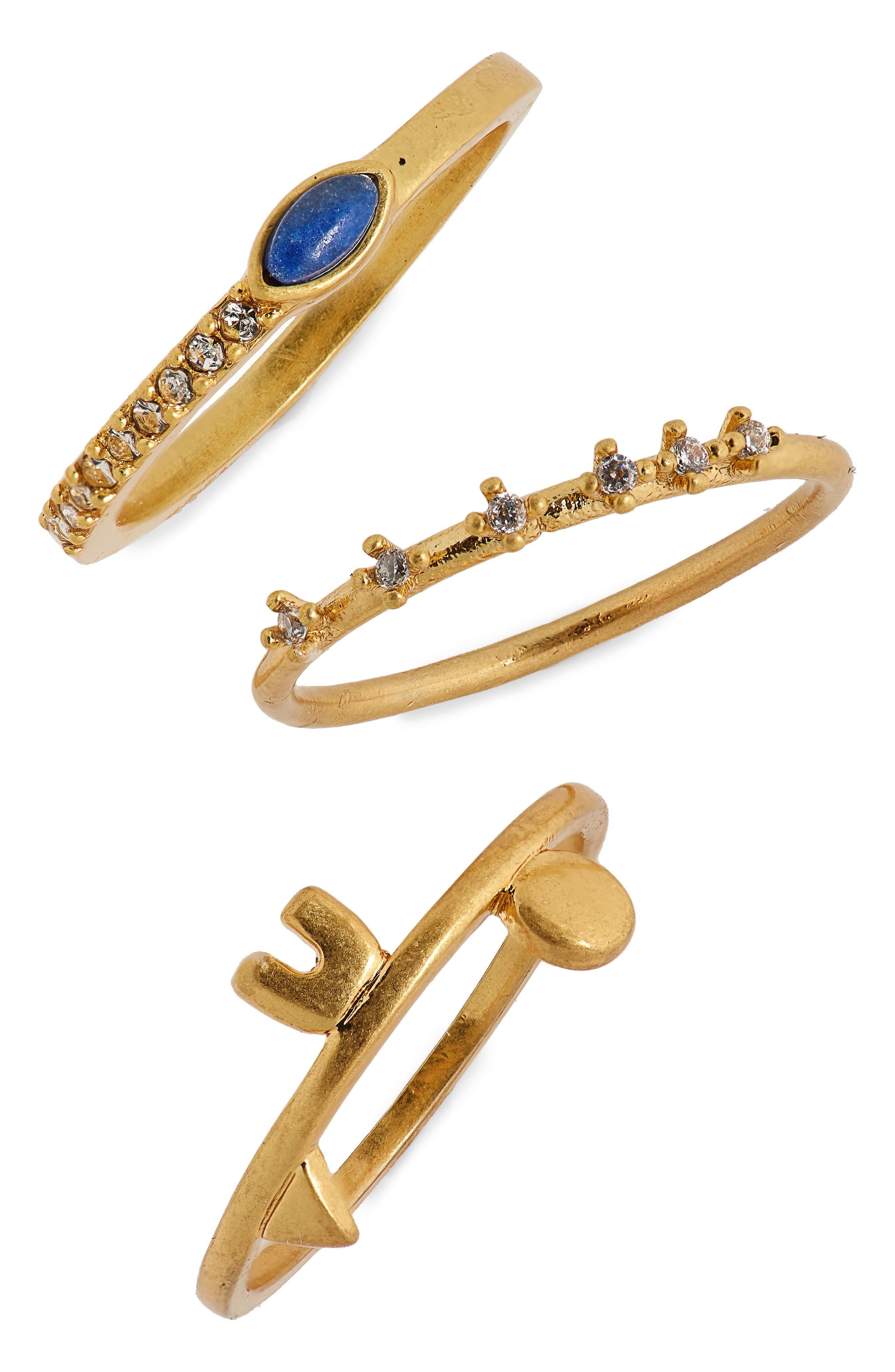 Shapes & Stones Set of 3 Rings,                             Main thumbnail 1, color,                             710