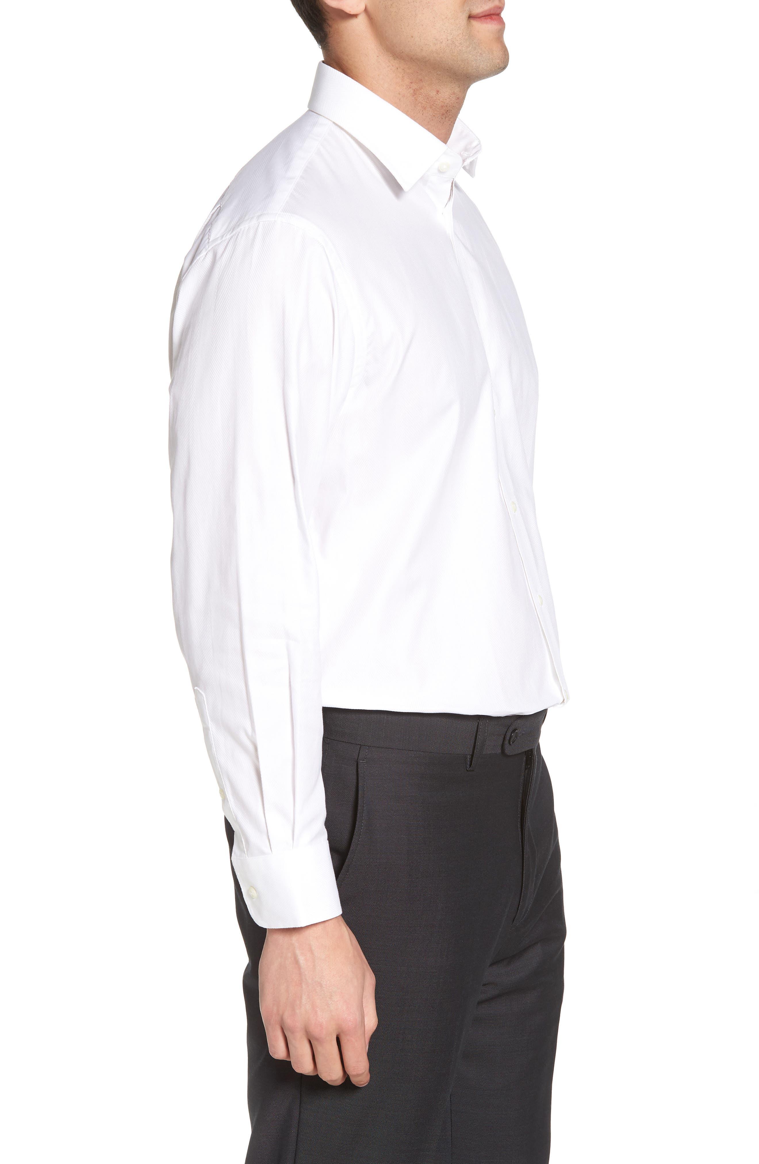 Traditional Fit Herringbone Dress Shirt,                             Alternate thumbnail 4, color,                             WHITE