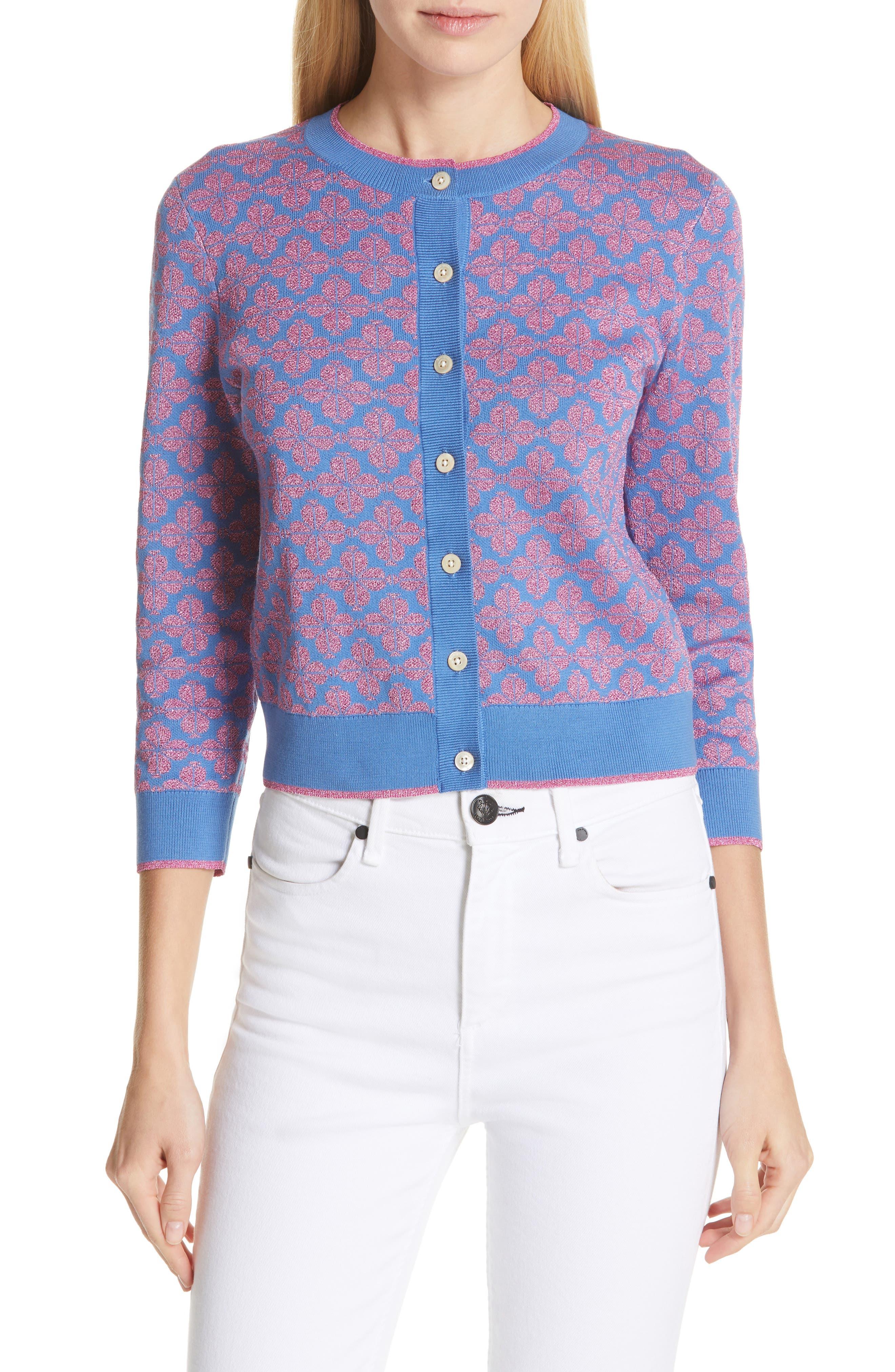 spade floral cardigan, Main, color, VIBRANT BLUE