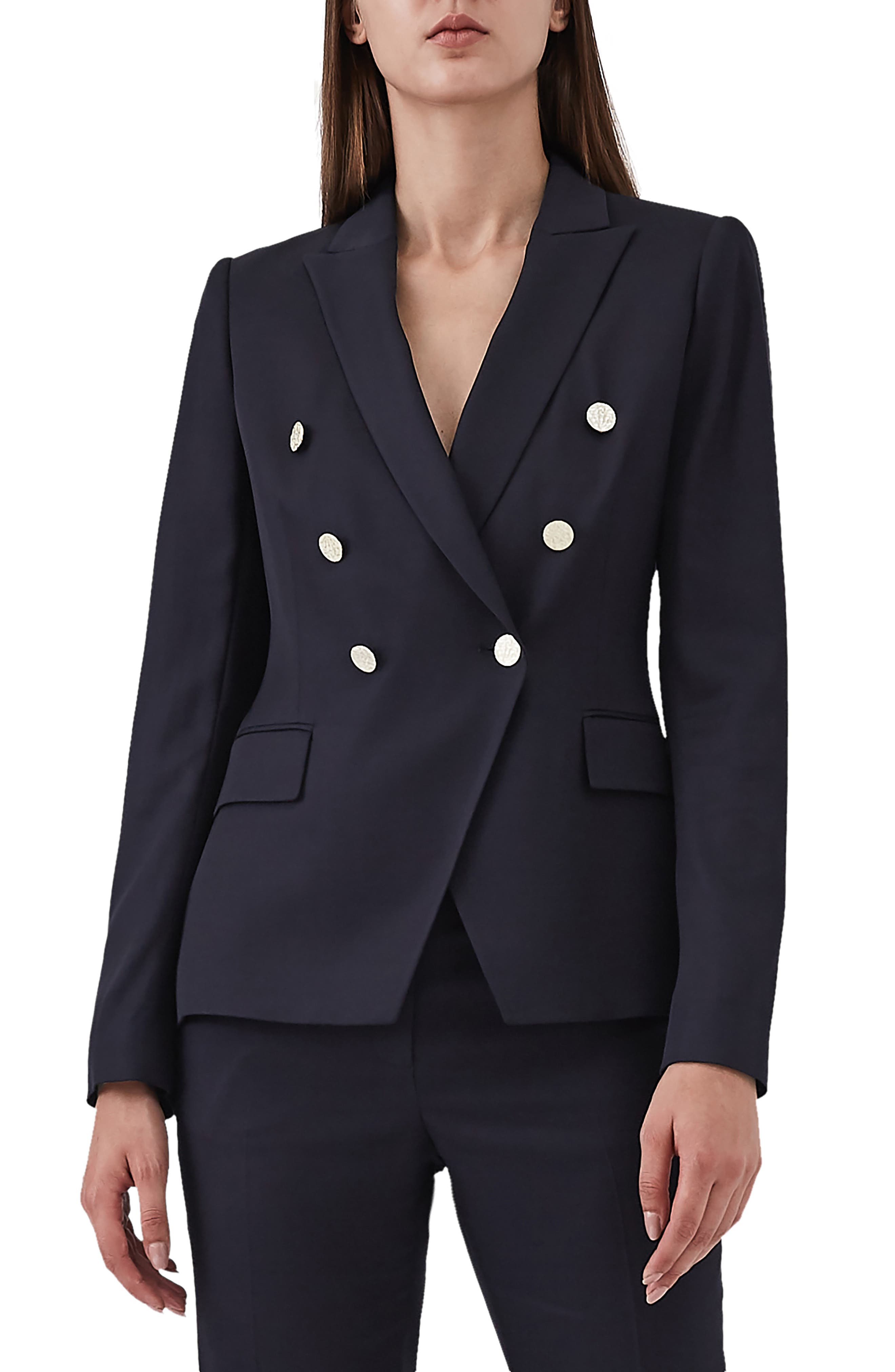Tally Double Breasted Wool Blend Jacket,                         Main,                         color, BLUE