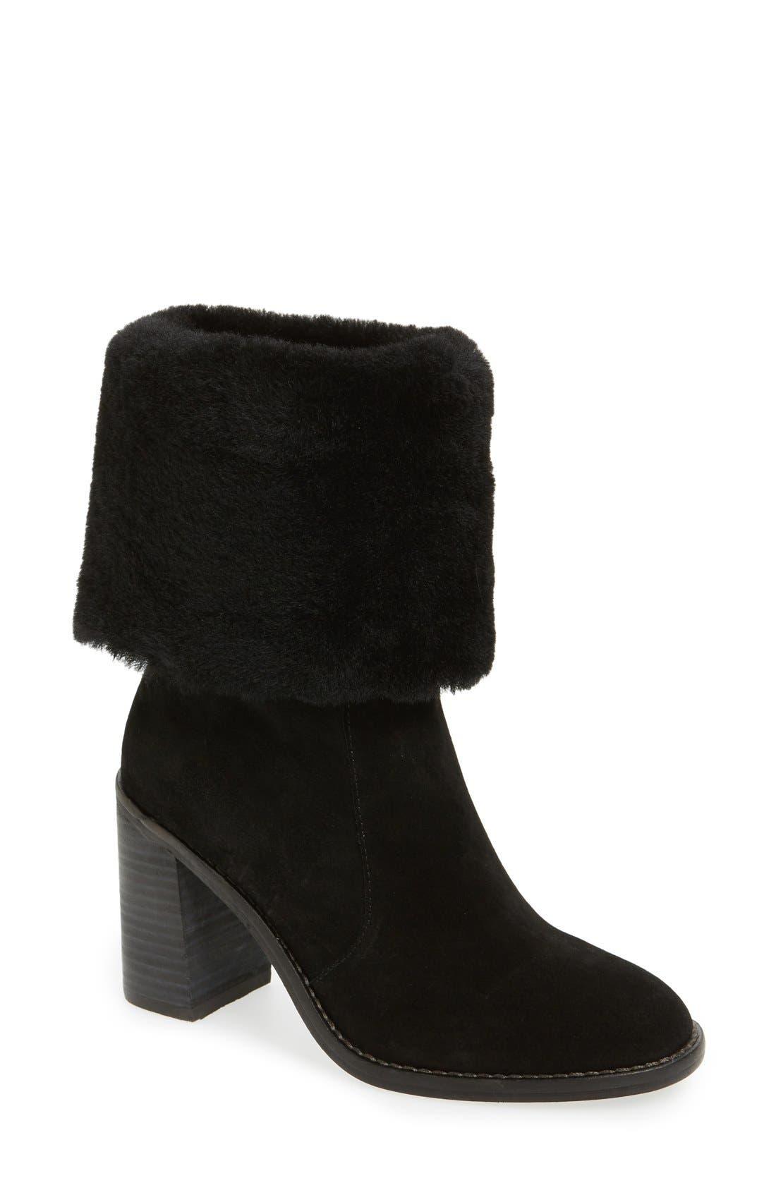'Maira' Genuine Shearling Cuff Boot,                             Main thumbnail 1, color,                             002