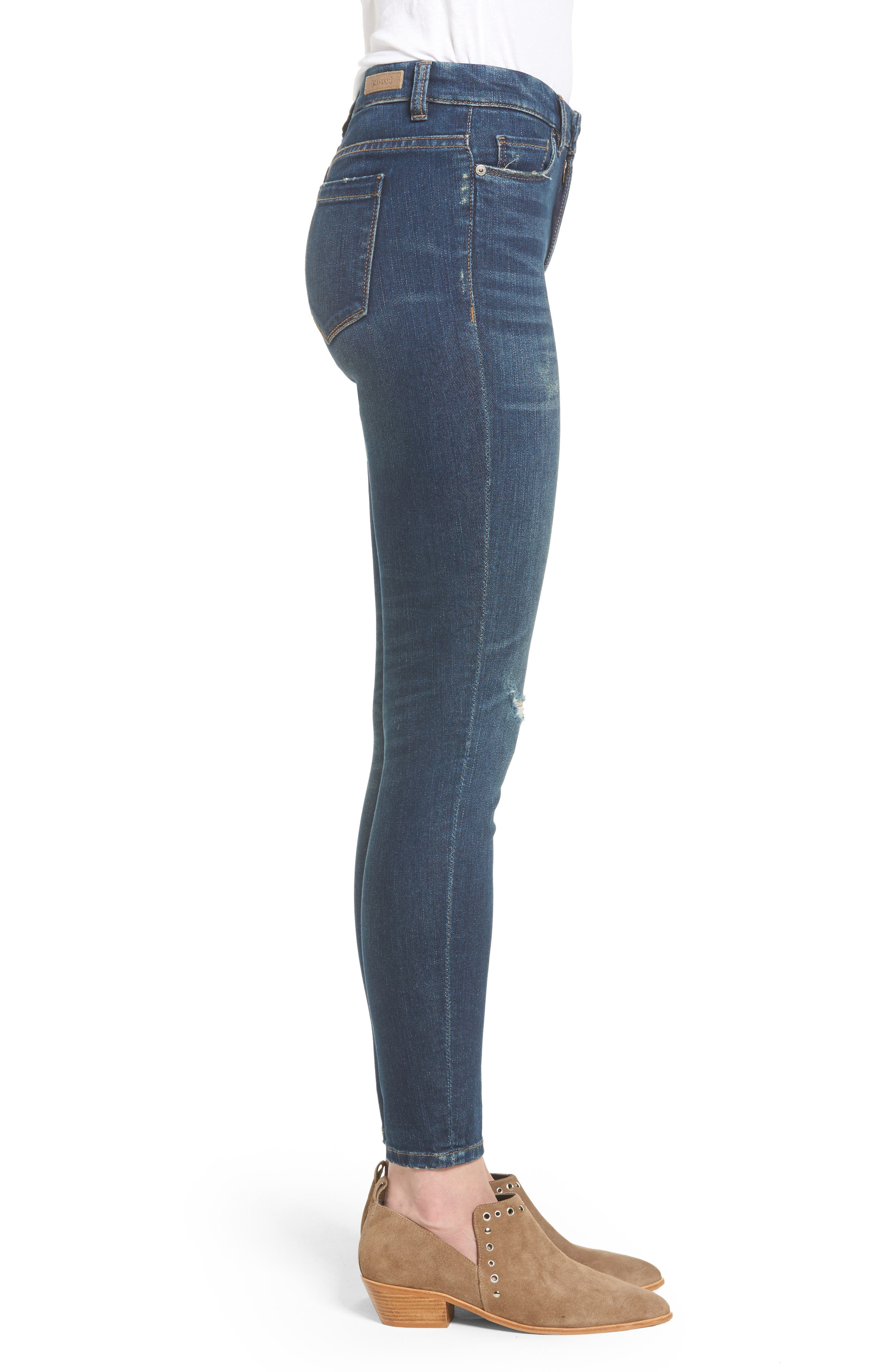 Ripped Mid Rise Skinny Ankle Jeans,                             Alternate thumbnail 3, color,                             420