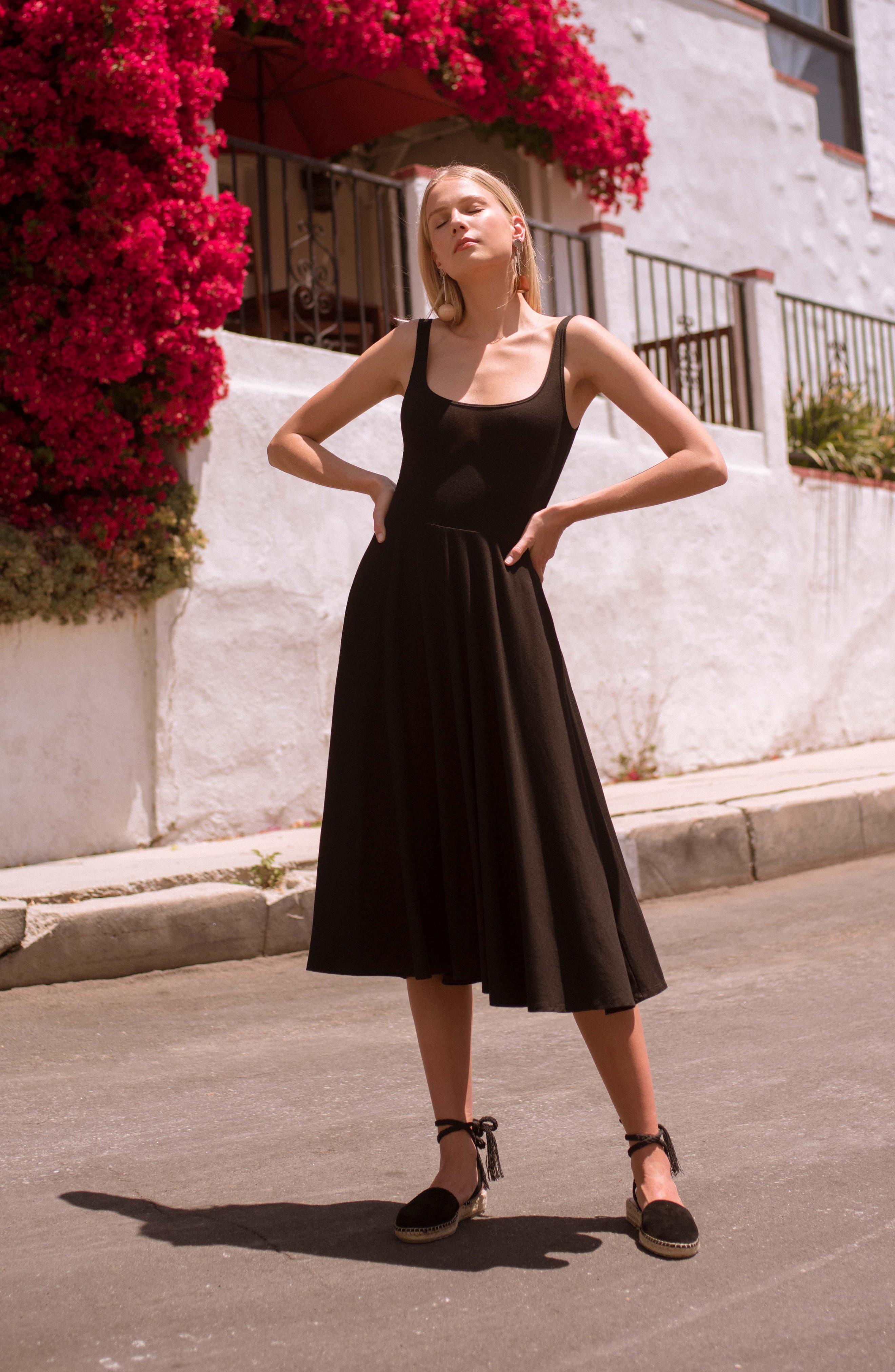 REFORMATION,                             Rou Midi Fit & Flare Dress,                             Alternate thumbnail 2, color,                             BLACK