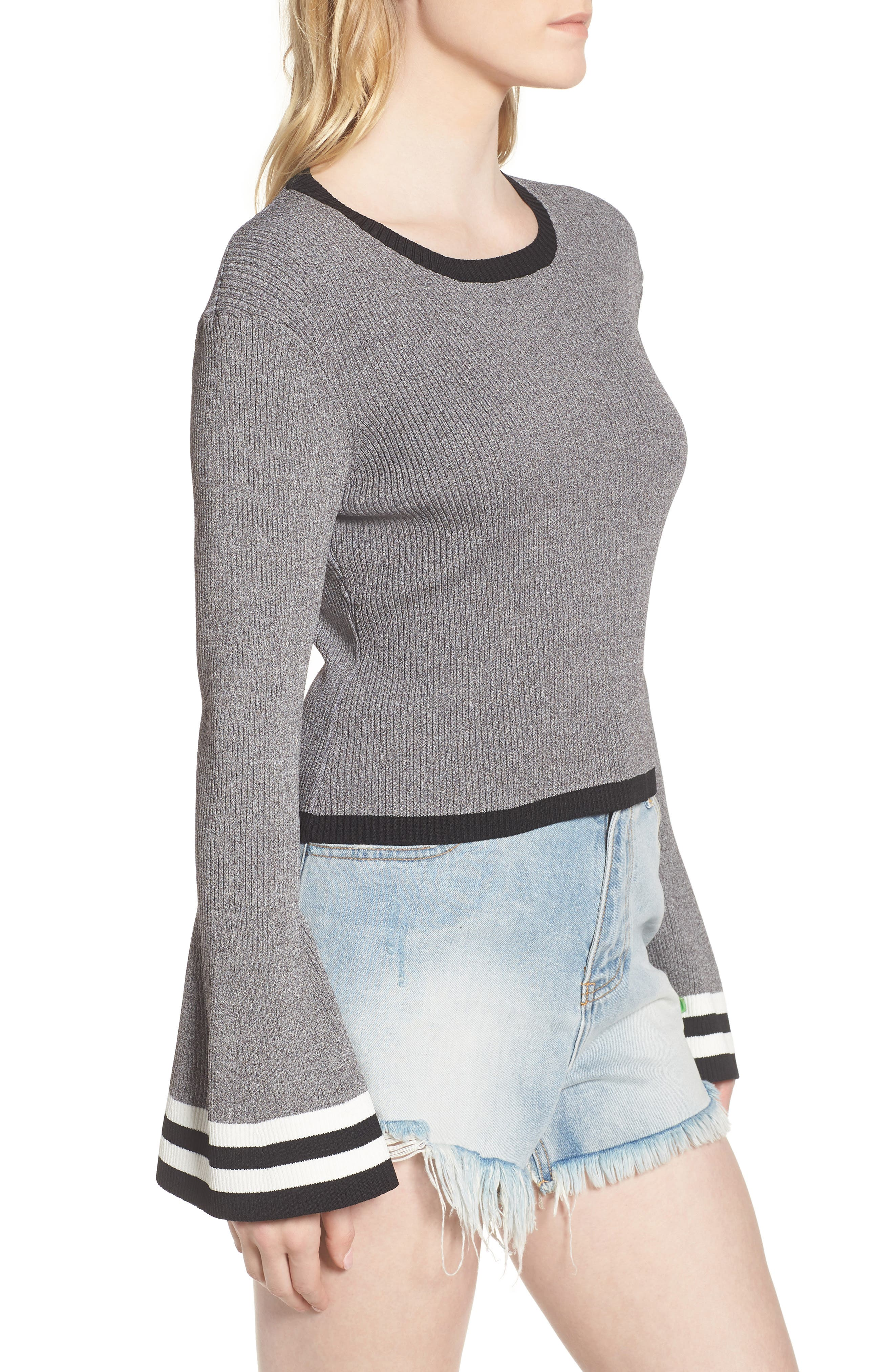Bell Sleeve Crop Sweater,                             Alternate thumbnail 3, color,