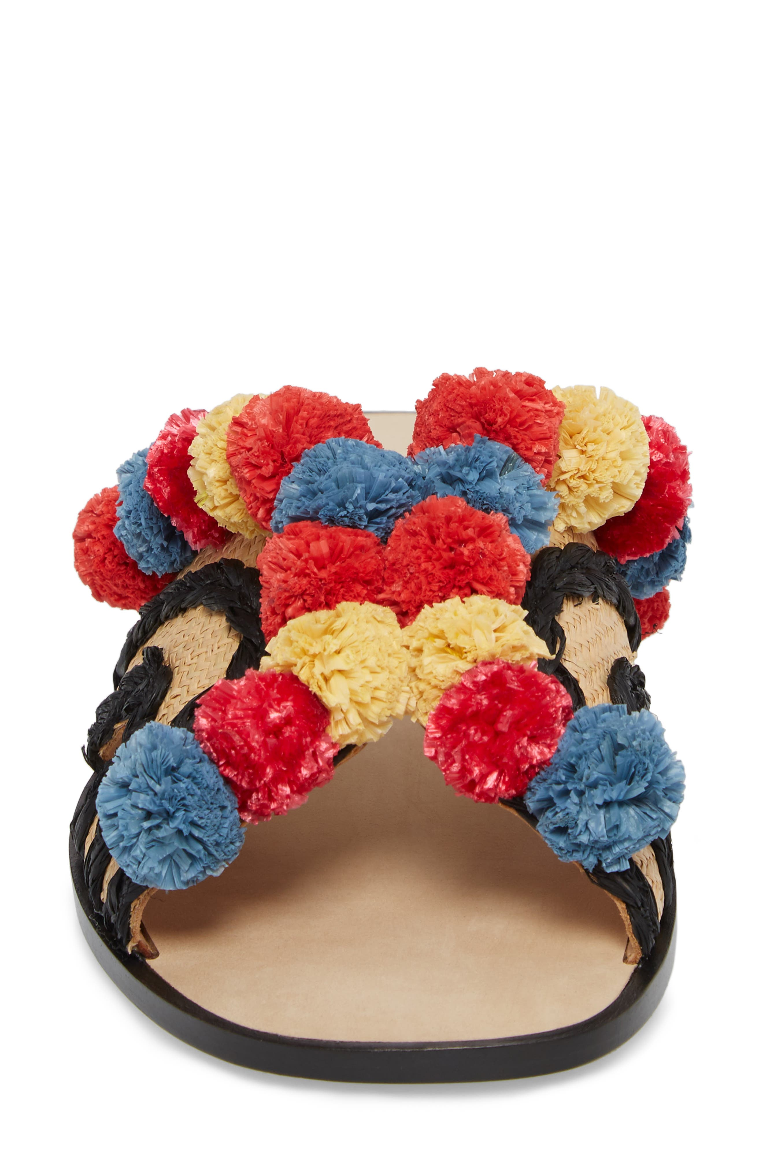 Paden Pompom Slide Sandals,                             Alternate thumbnail 4, color,                             002