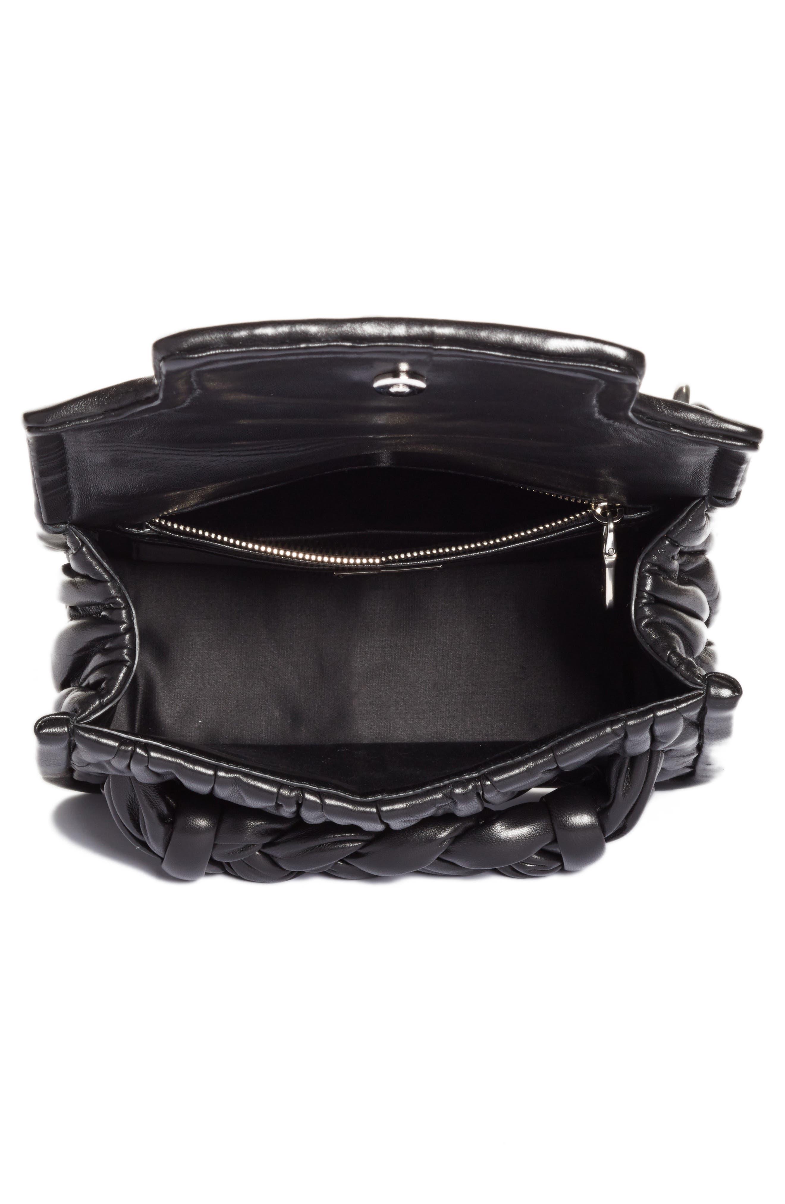 Matelassé Leather Shoulder Bag,                             Alternate thumbnail 4, color,                             001