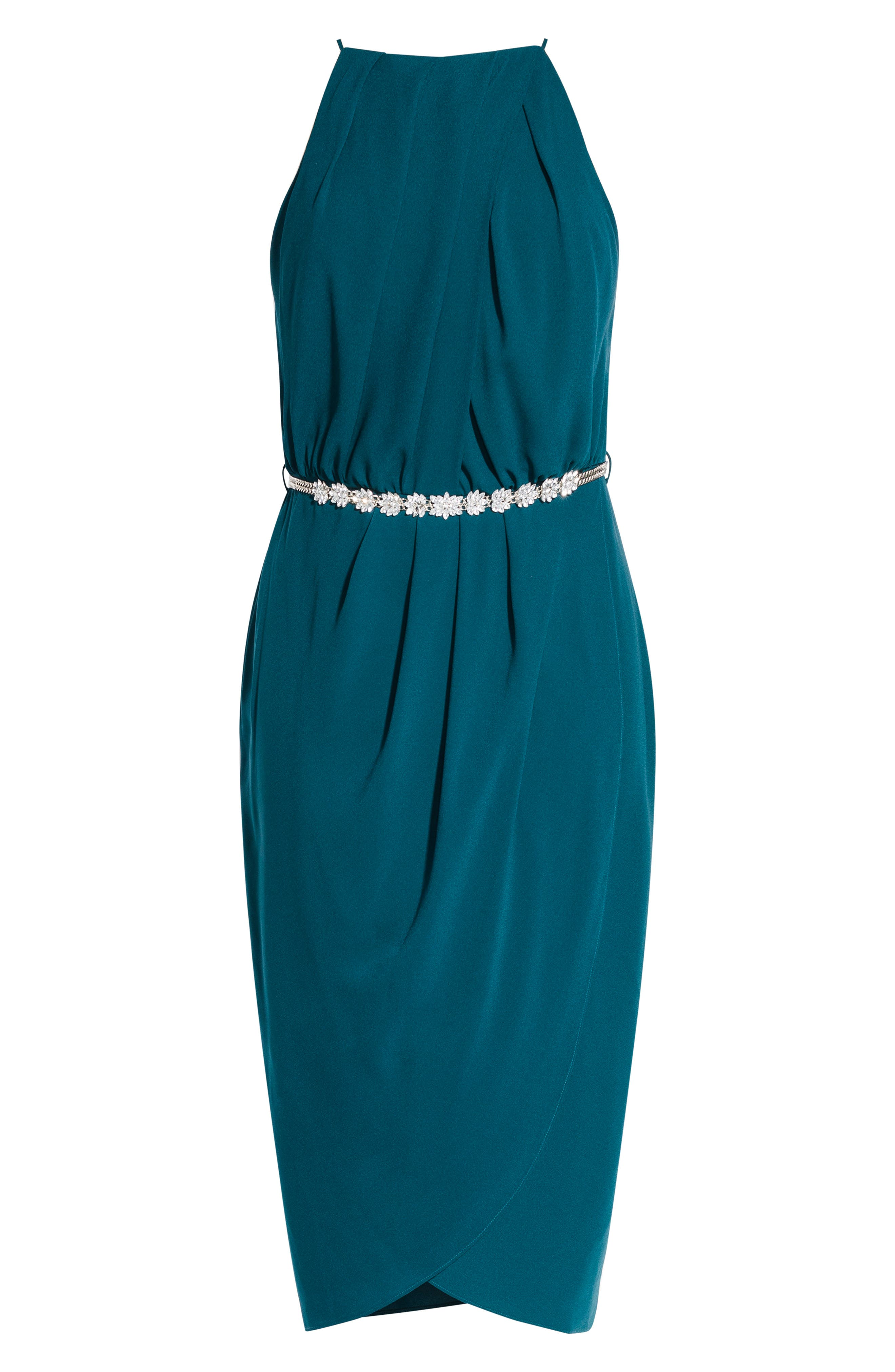 CITY CHIC,                             In Love Faux Wrap Dress,                             Alternate thumbnail 3, color,                             EMERALD