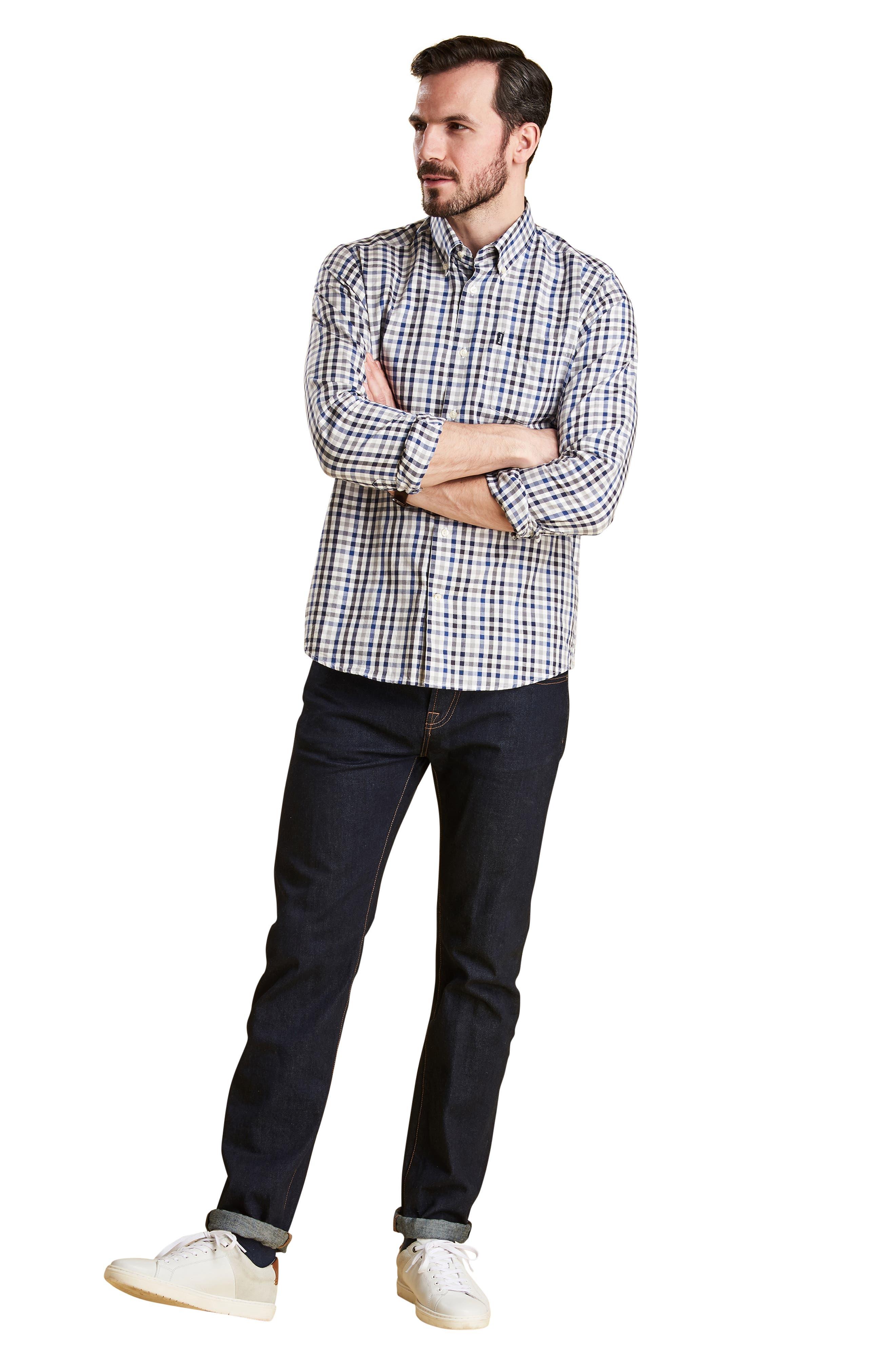 Bibury Tailored Fit Check Sport Shirt,                             Alternate thumbnail 5, color,                             GREY