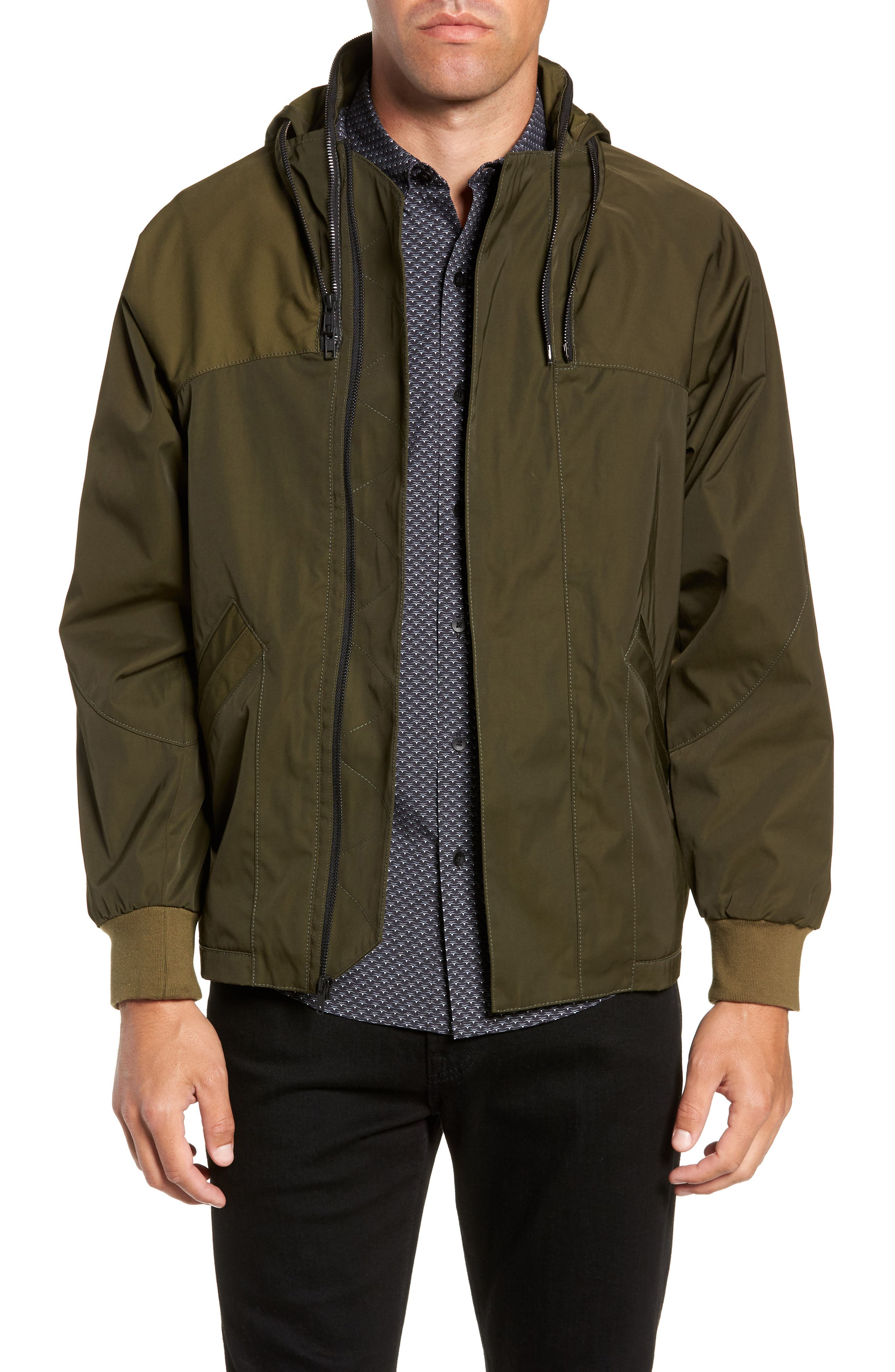 Slim Fit Delta Bomber Jacket,                         Main,                         color, OLIVE