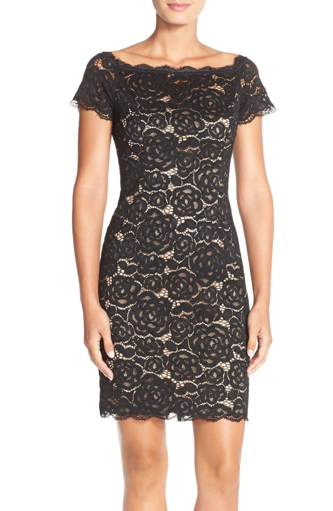 Off the Shoulder Lace Sheath Dress,                             Main thumbnail 1, color,                             003