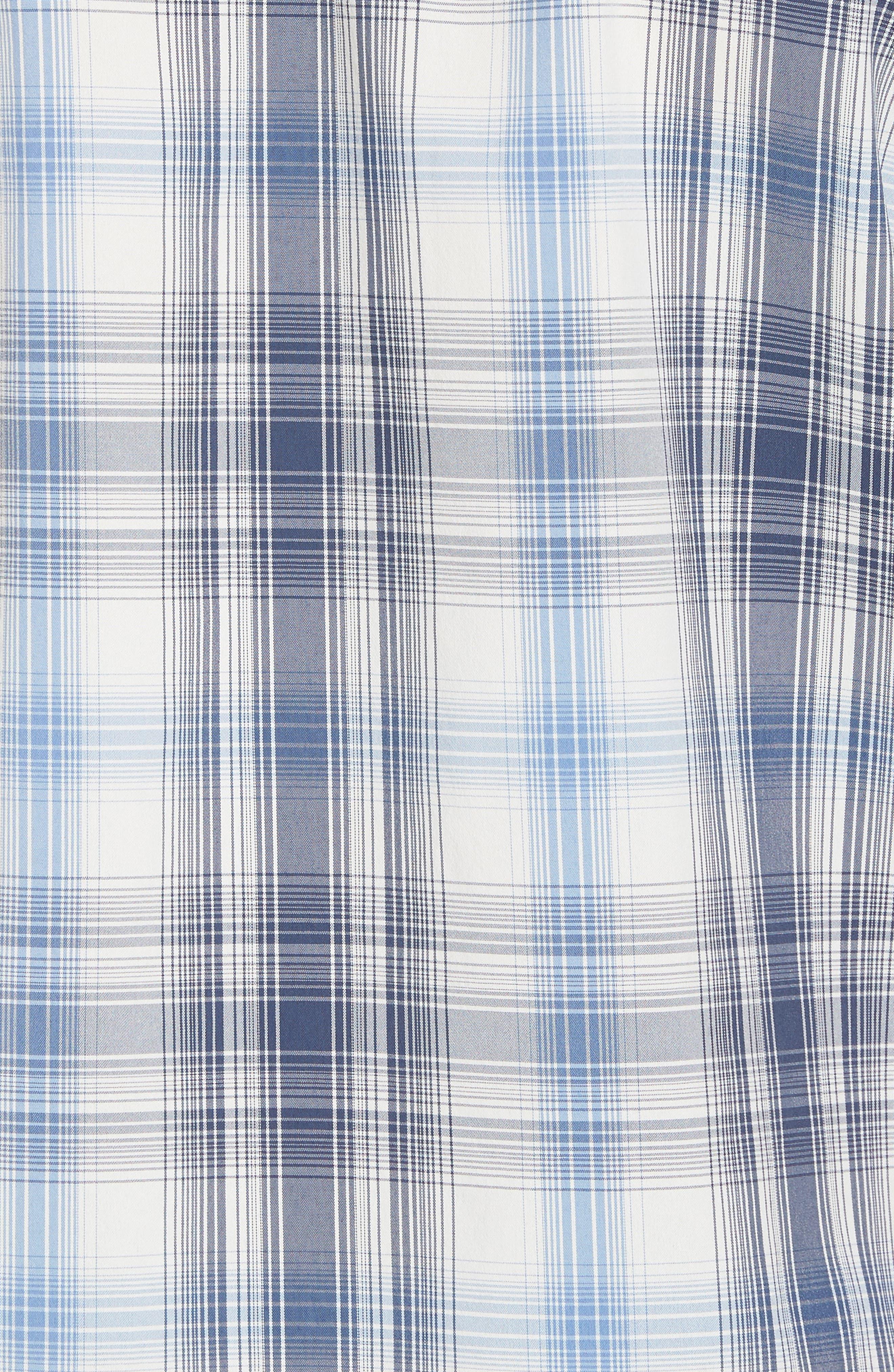 M's Sun Plaid Stretch Hybrid Shirt,                             Alternate thumbnail 5, color,                             KING SWING RADAR BLUE