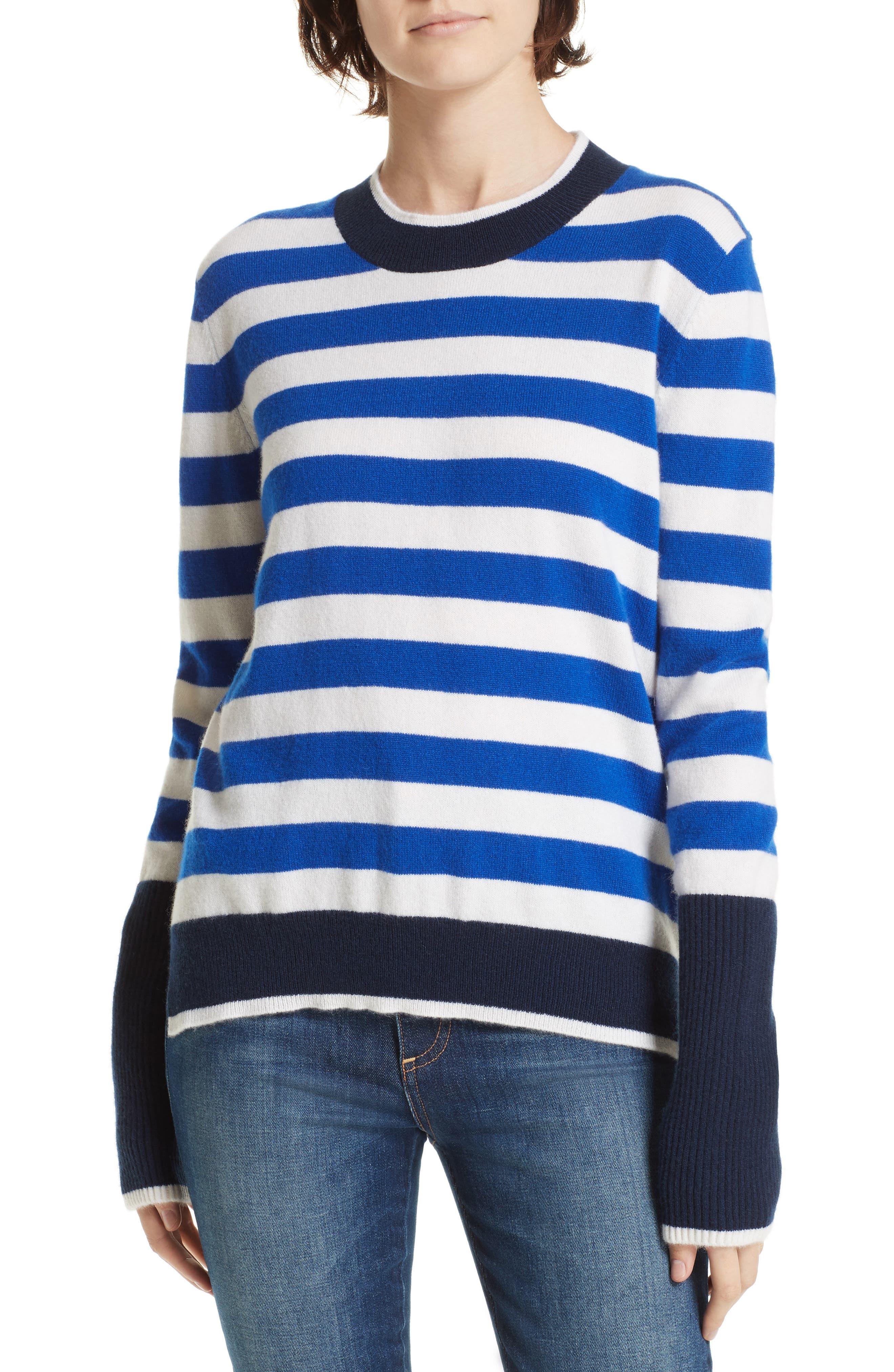 LA LIGNE L'Universite Cashmere Sweater in Bright Blue/ Cream/ Navy