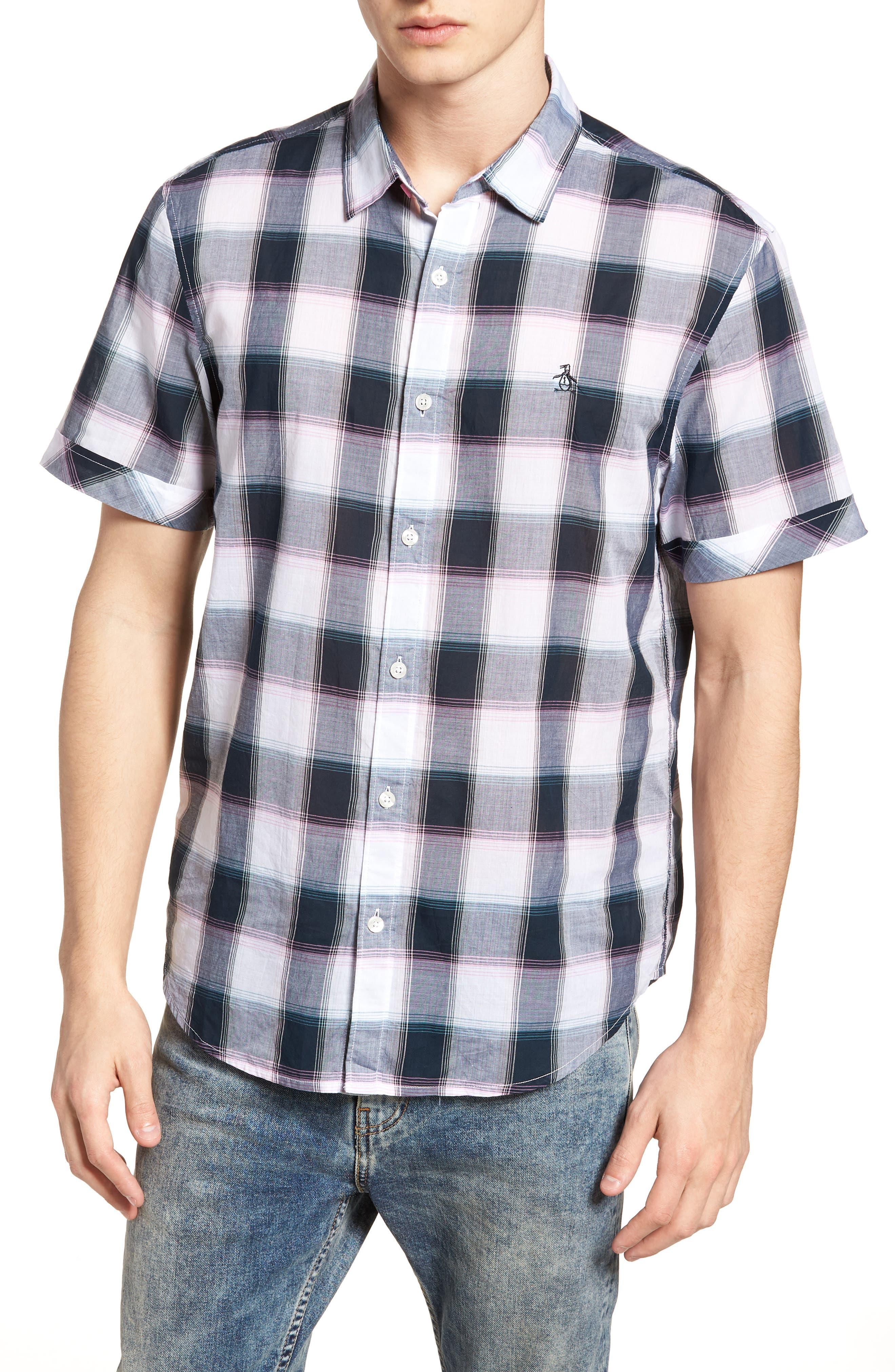 Plaid Cotton Lawn Shirt,                         Main,                         color, 023