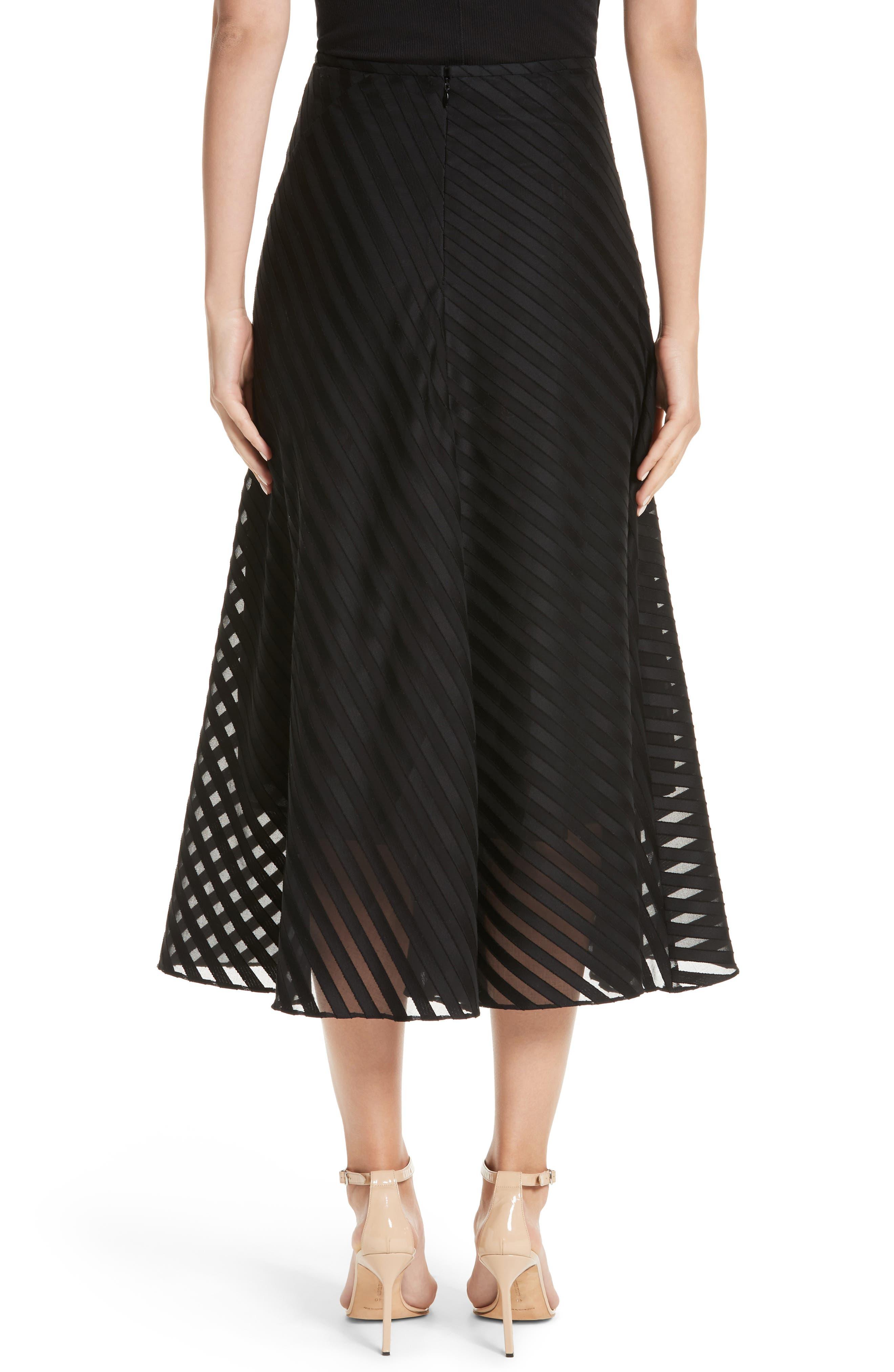 Diagonal Stripe Cotton Voile Midi Skirt,                             Alternate thumbnail 2, color,                             009