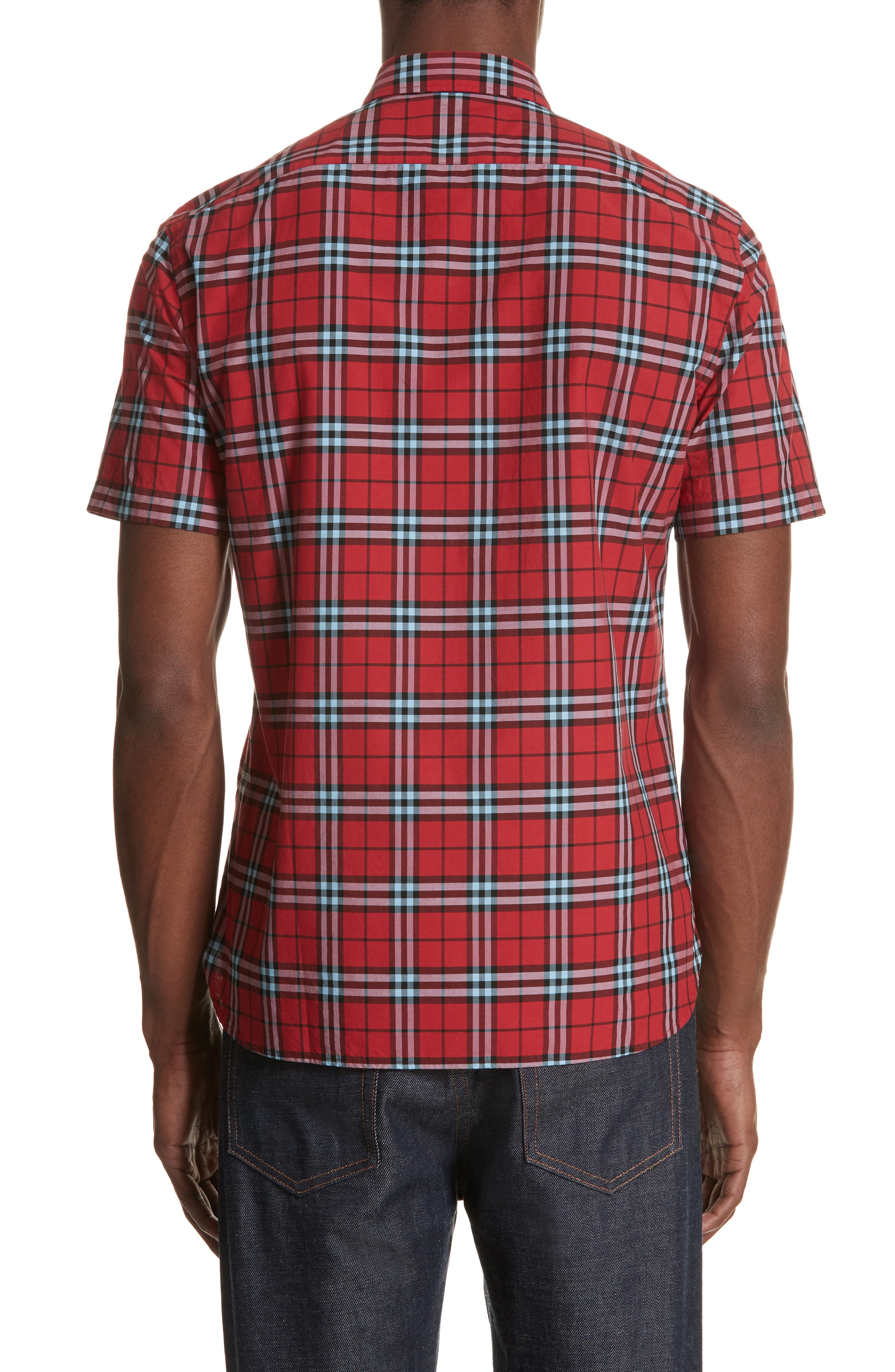 Alexander Check Sport Shirt,                             Alternate thumbnail 3, color,                             BRIGHT RED