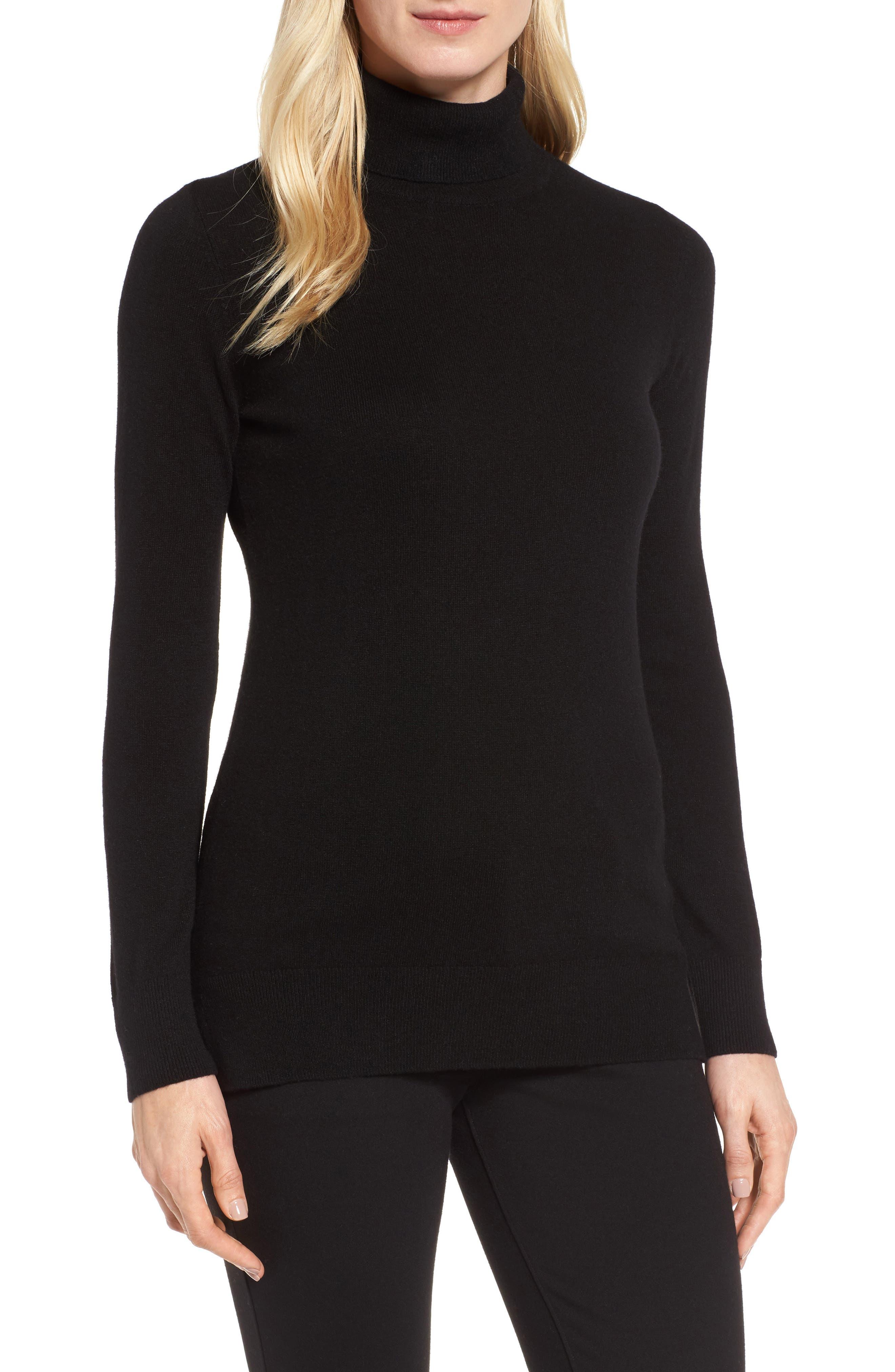 Turtleneck Cashmere Sweater,                             Main thumbnail 1, color,                             BLACK
