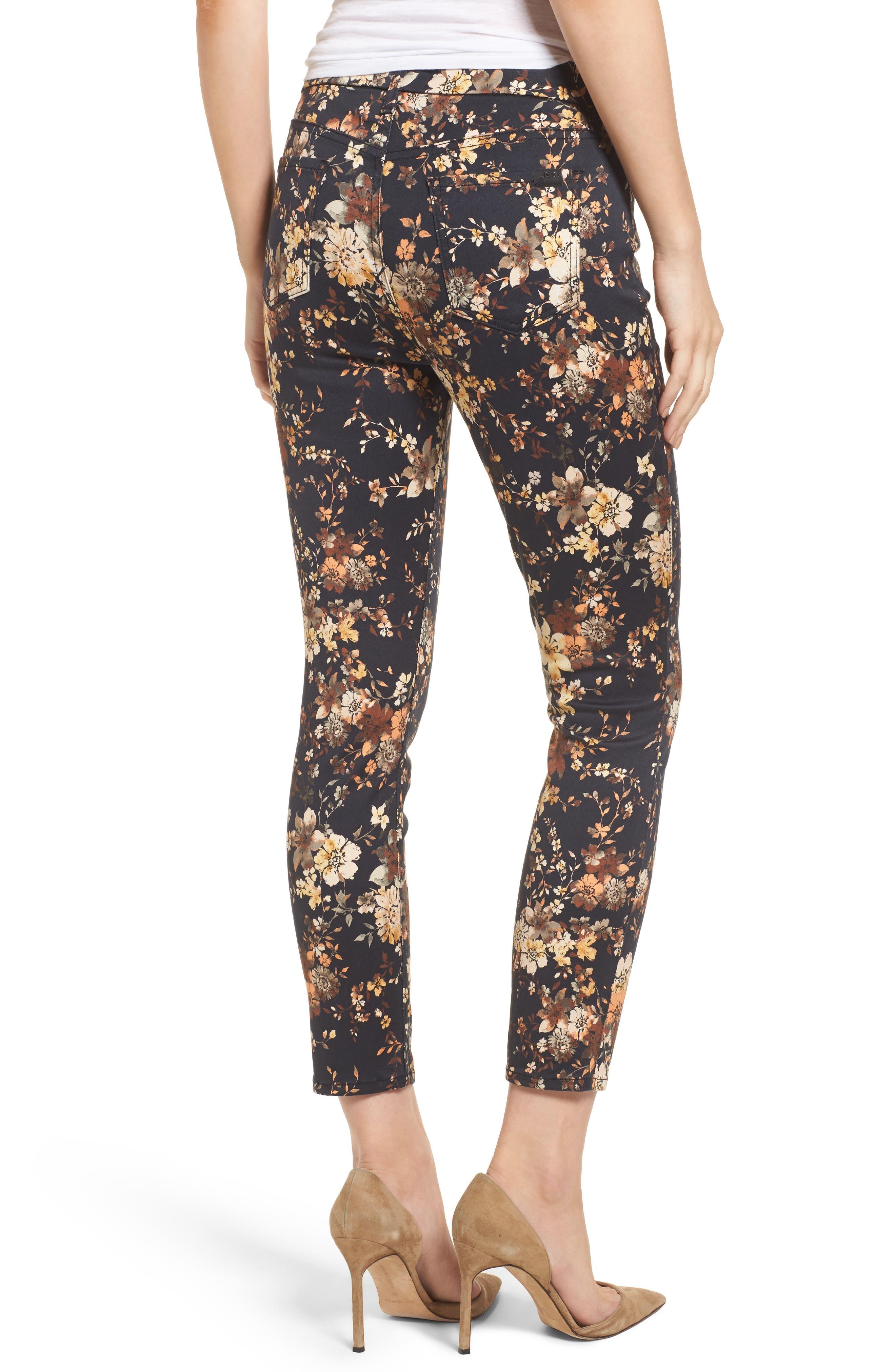 Dark Floral Ankle Skinny Jeans,                             Alternate thumbnail 2, color,
