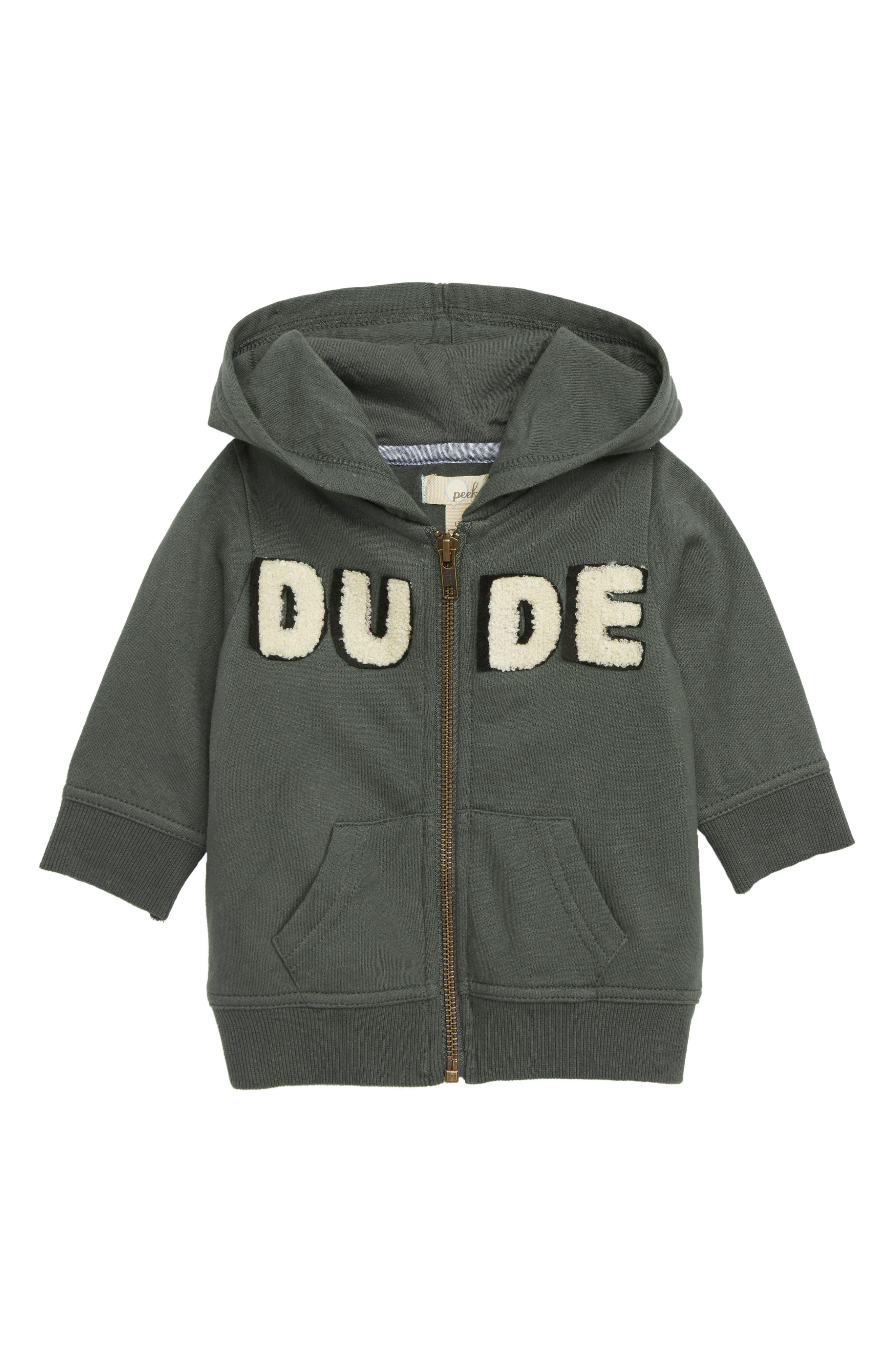 Peek Dude Zip Hoodie,                         Main,                         color, OLIVE