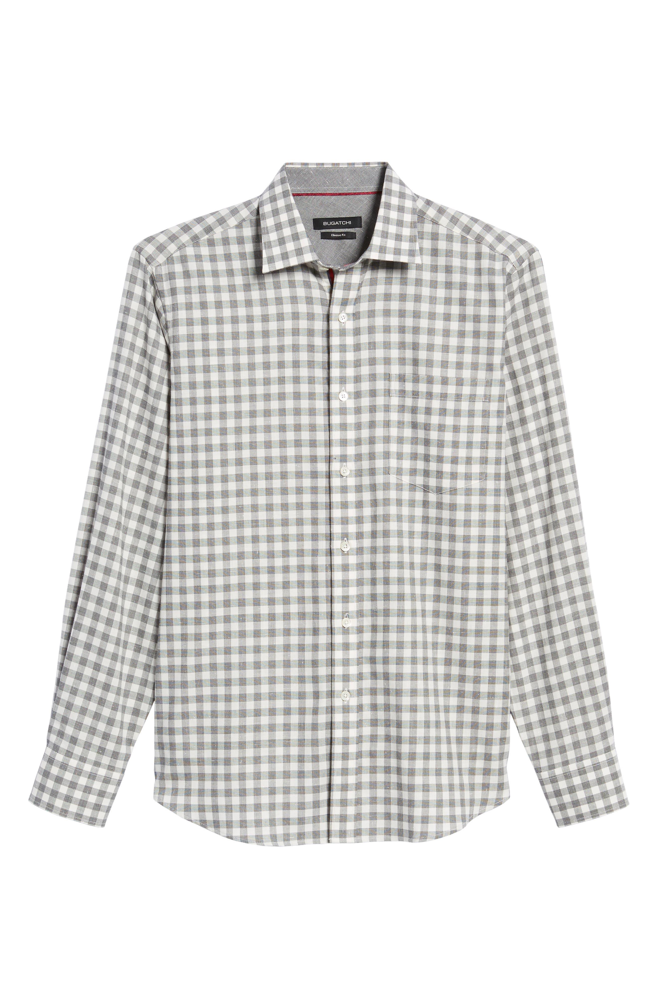 Classic Fit Slubbed Check Sport Shirt,                             Alternate thumbnail 6, color,                             020