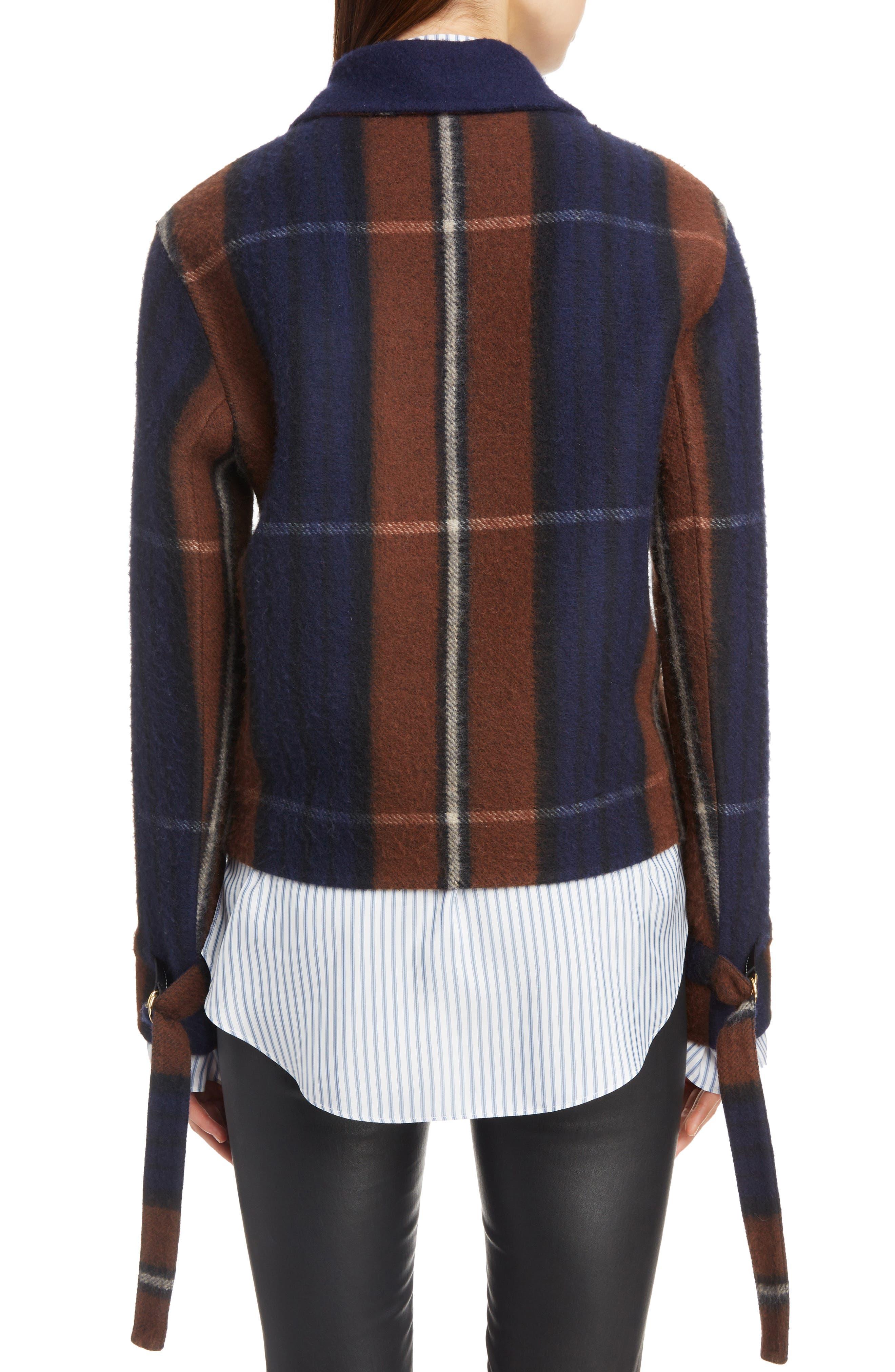 Plaid Fringe Trim Wool & Cashmere Jacket,                             Alternate thumbnail 2, color,                             467
