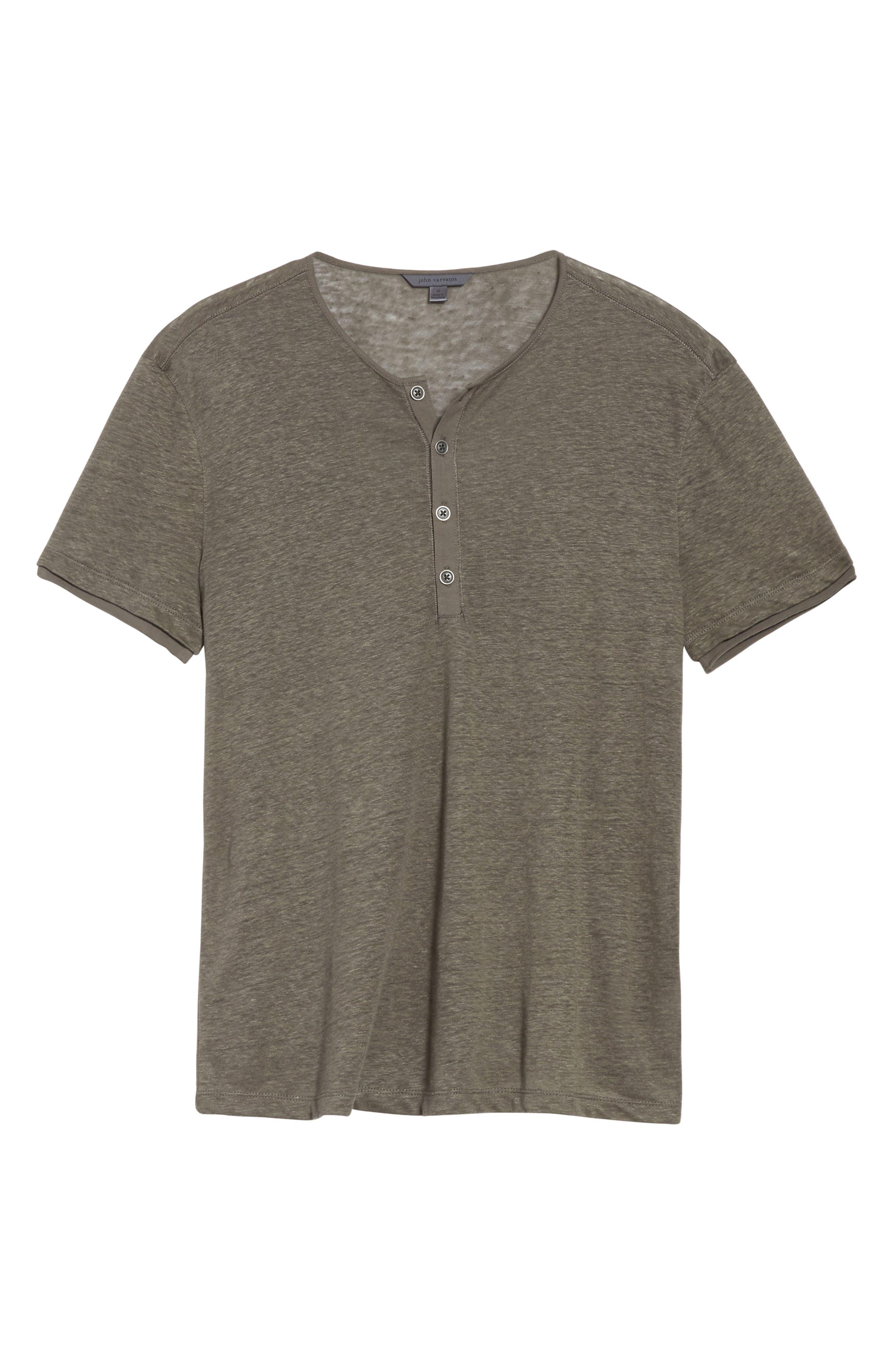 Linen Henley T-Shirt,                             Alternate thumbnail 6, color,                             336