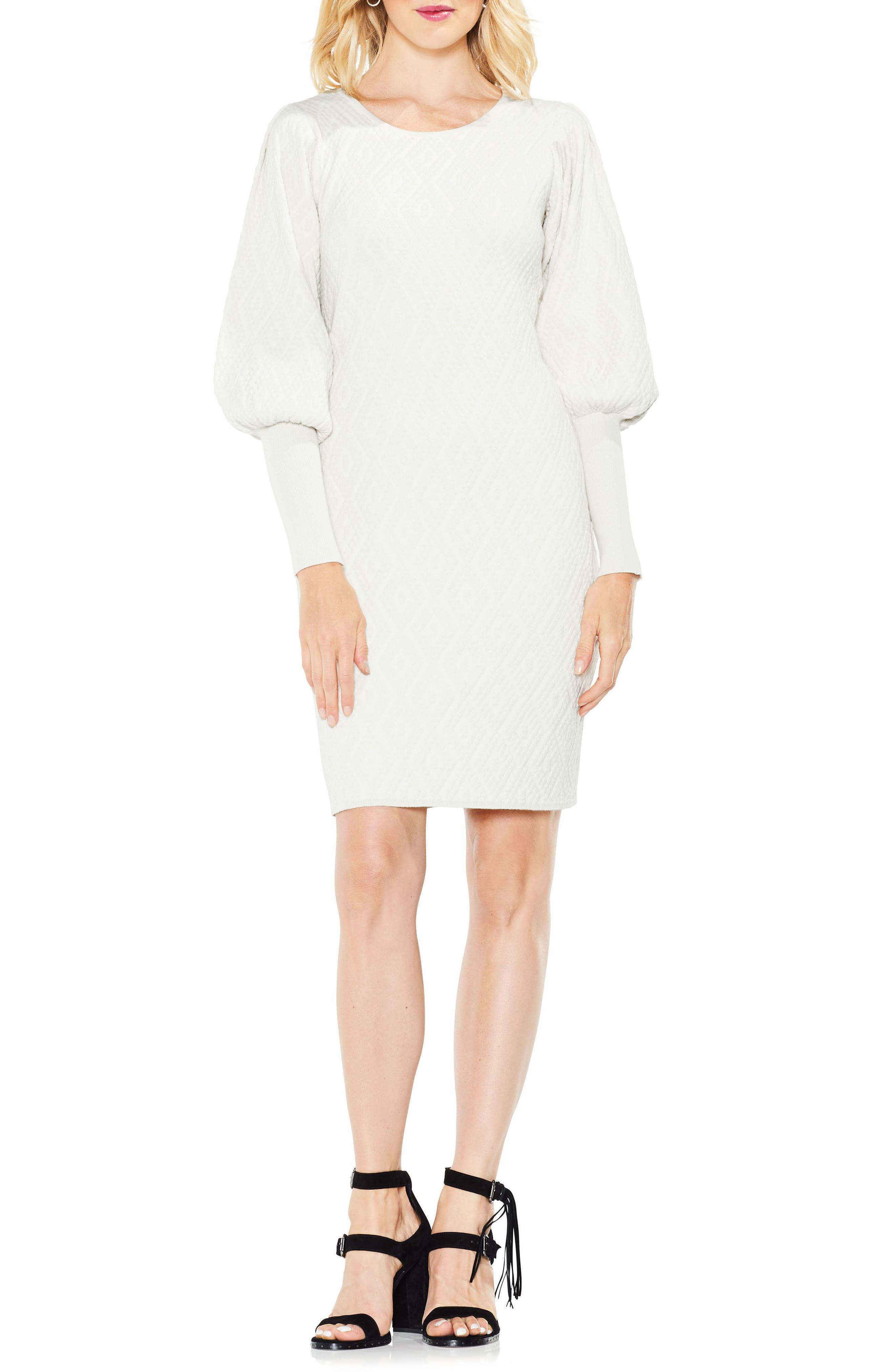 Bubble Sleeve Textured Jacquard Dress,                             Main thumbnail 2, color,