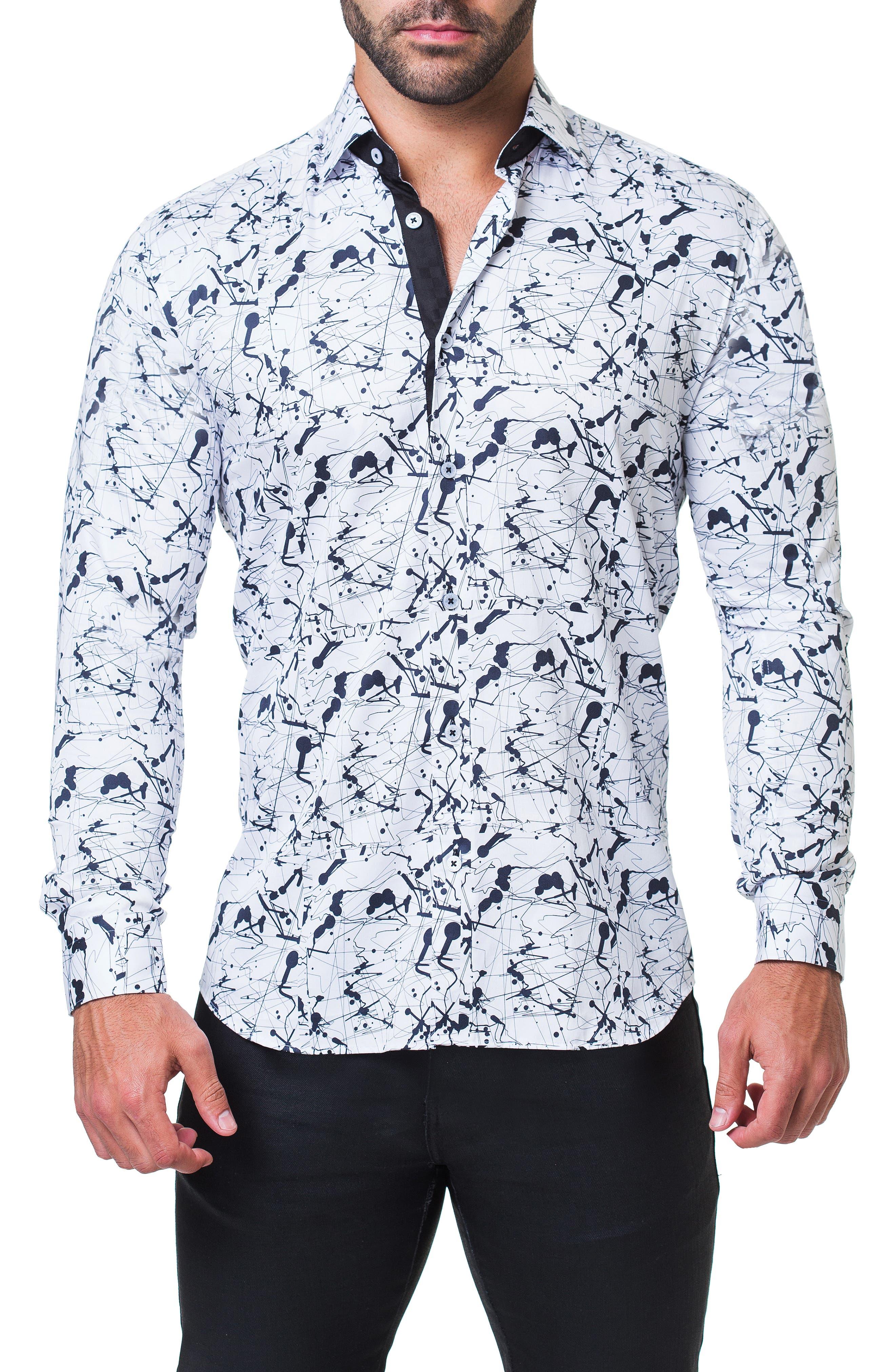 Fibonacci Haring Trim Fit Print Sport Shirt,                             Main thumbnail 1, color,                             WHITE