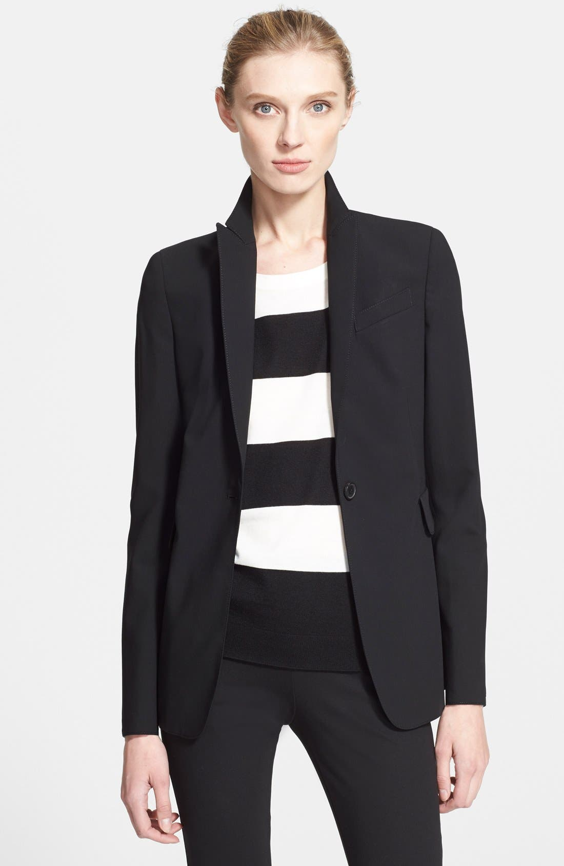 Long One-Button Jacket,                             Main thumbnail 1, color,                             BLACK