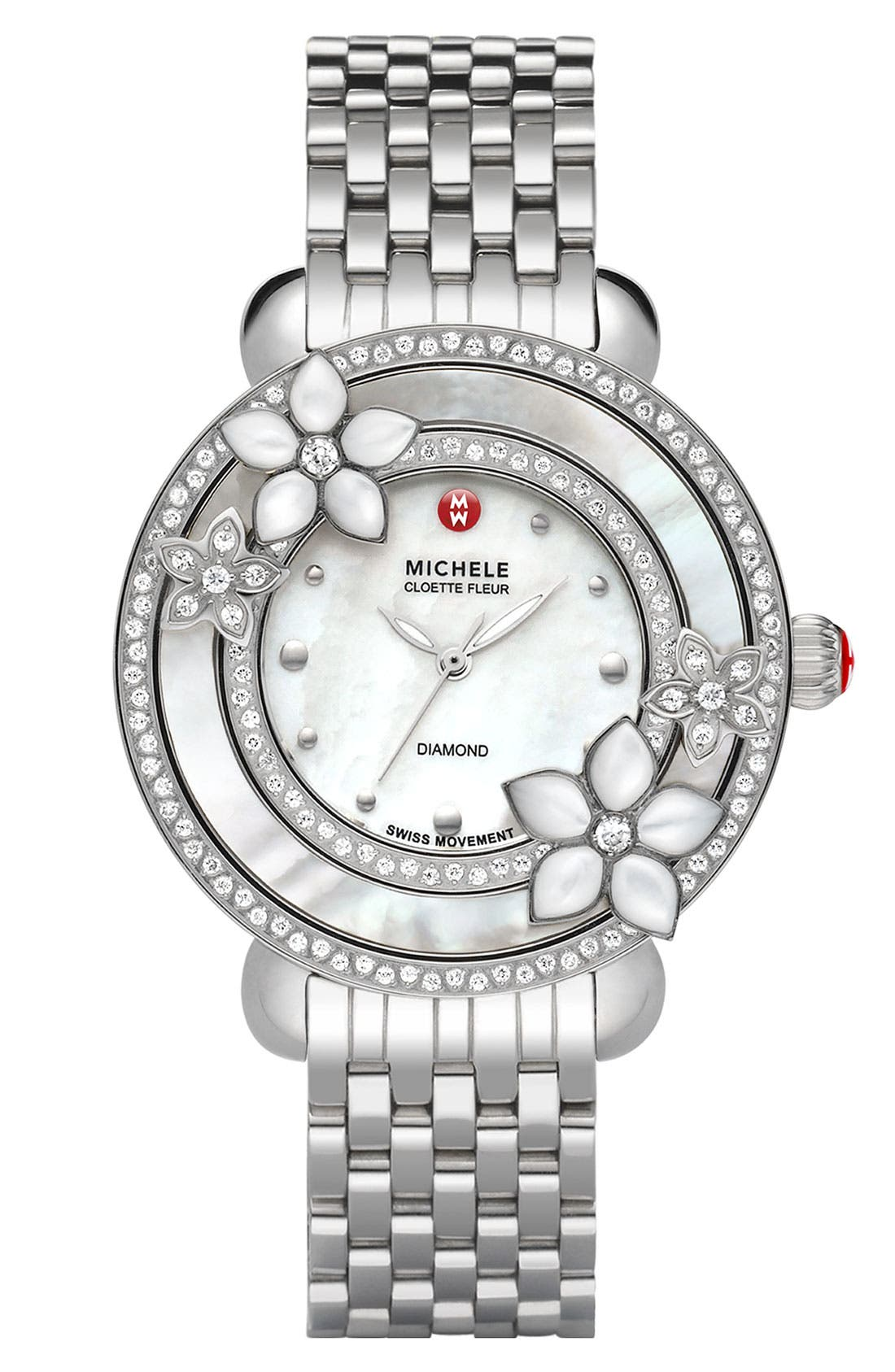 'Cloette Fleur' Diamond & Mother-of-Pearl Watch Case, 38mm,                             Alternate thumbnail 2, color,                             040