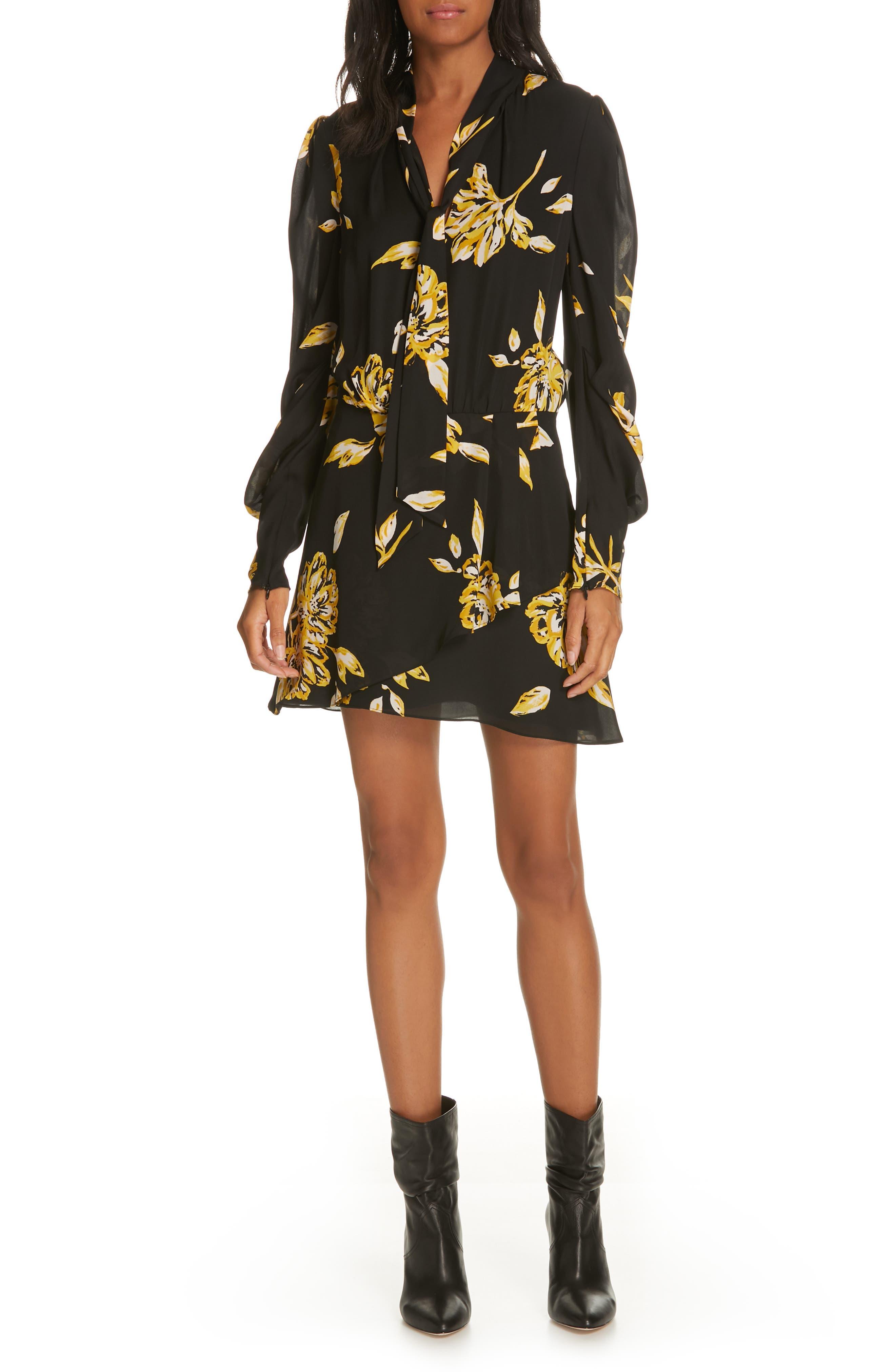 Gyan Floral Silk Dress,                             Main thumbnail 1, color,                             CAVIAR
