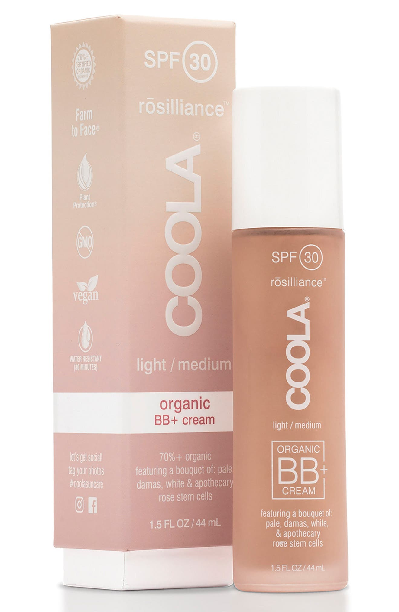 COOLA<sup>®</sup> Suncare rosilliance<sup>™</sup> Mineral BB+ Cream SPF 30,                         Main,                         color, LIGHT MEDIUM
