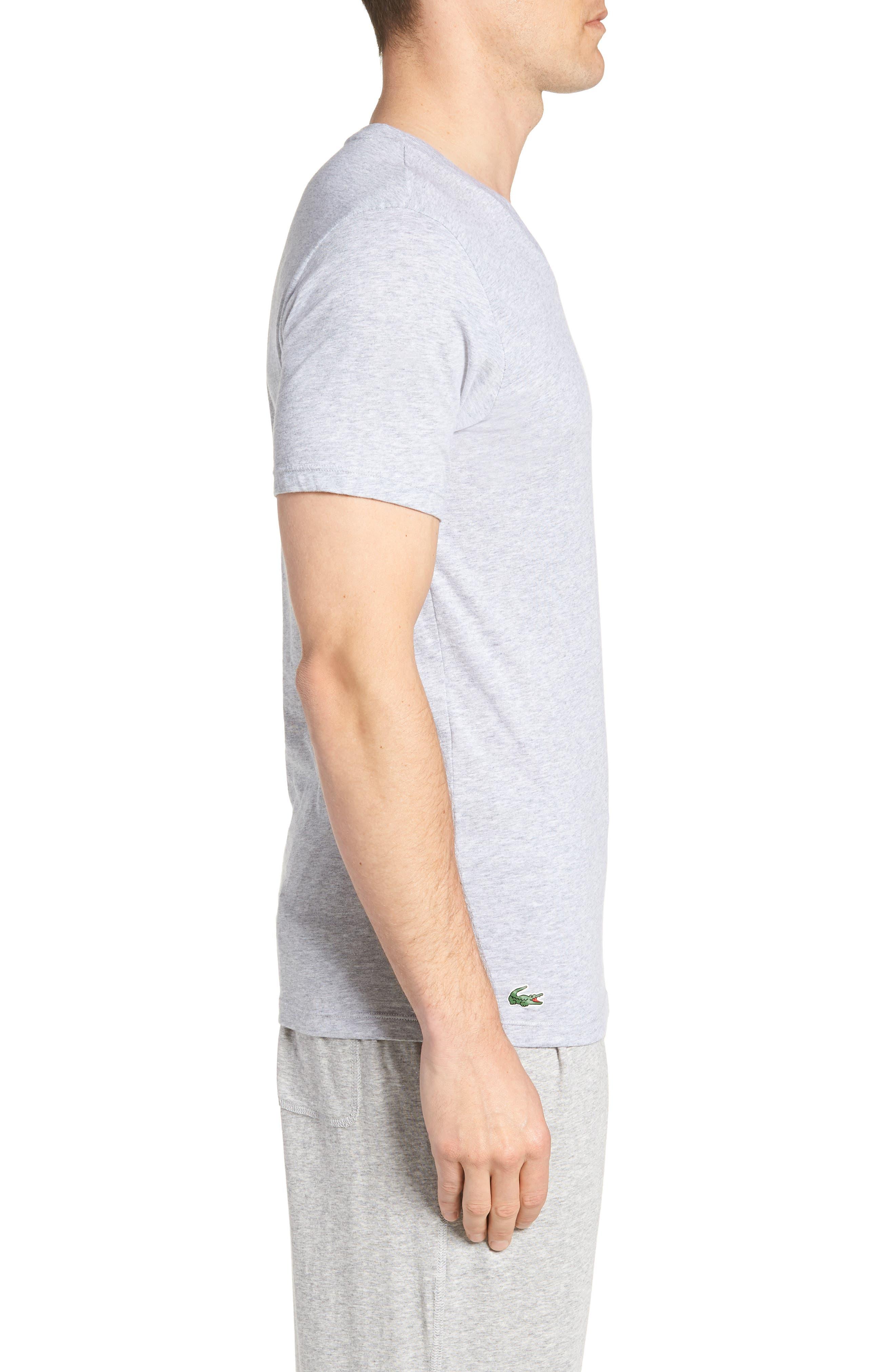 LACOSTE,                             3-Pack Slim Fit V-Neck T-Shirts,                             Alternate thumbnail 3, color,                             BLACK/ GREY/ WHITE