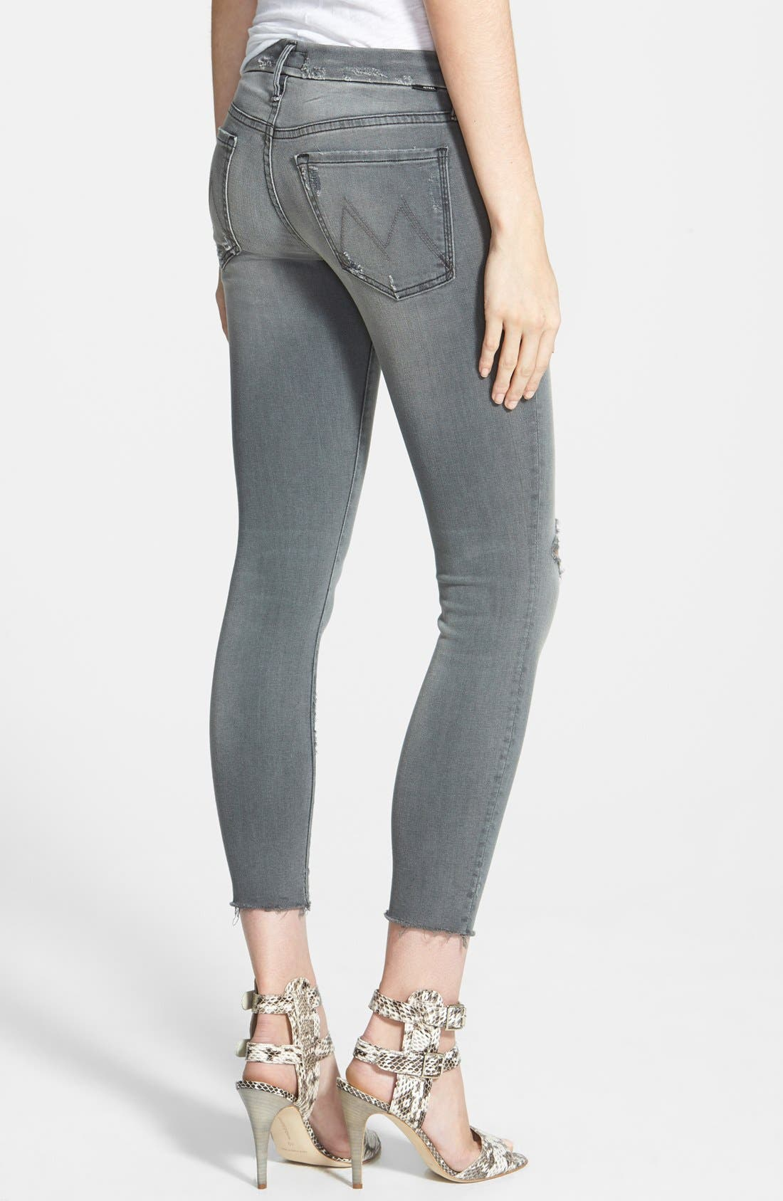 Frayed Ankle Jeans,                             Alternate thumbnail 8, color,                             020